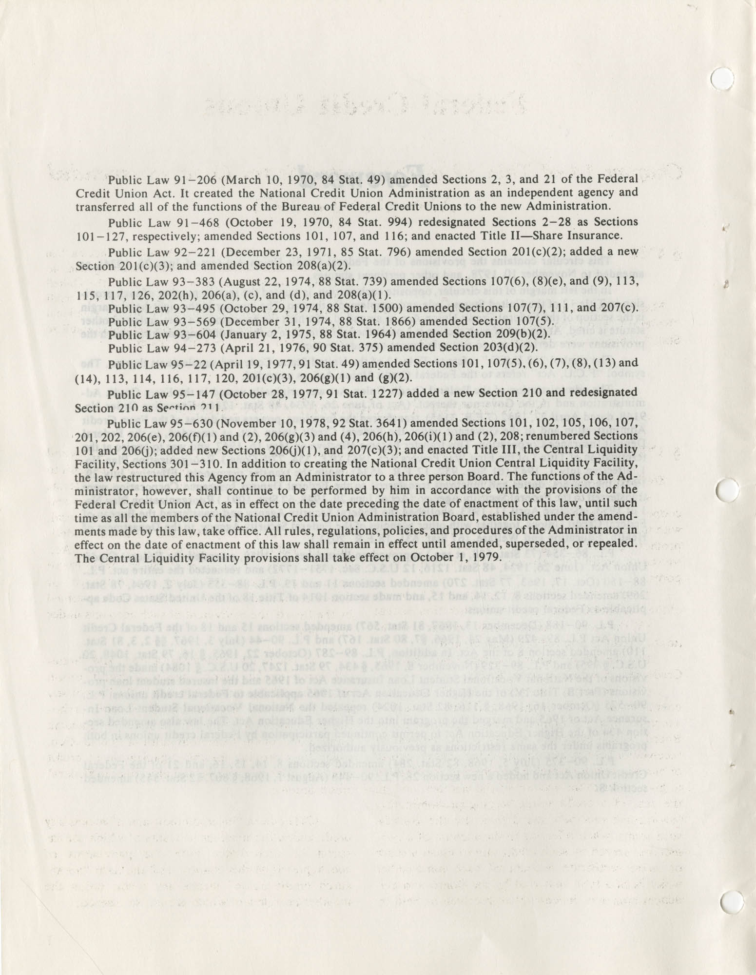 The Federal Credit Union Act, June 1979, Publication Information