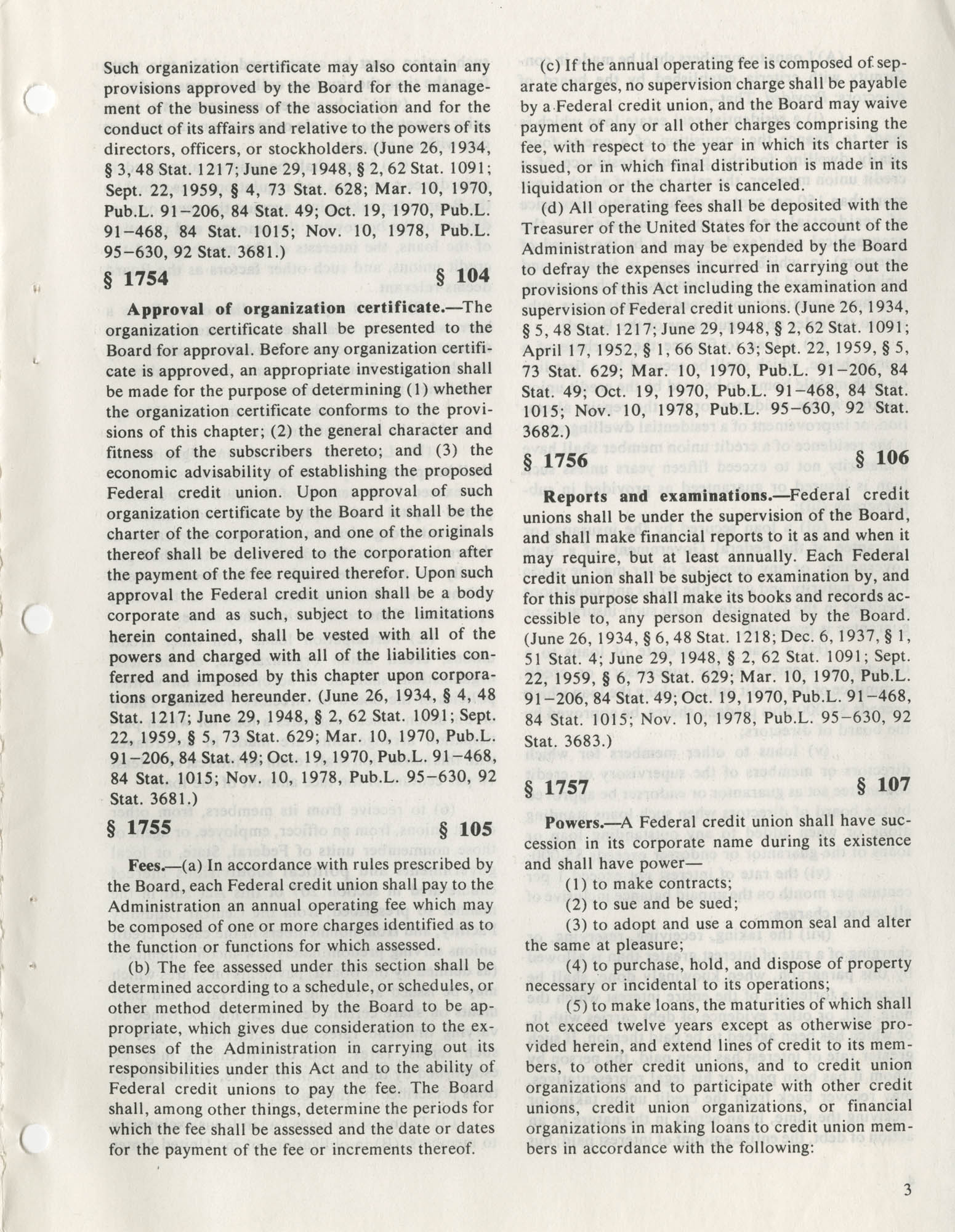 The Federal Credit Union Act, June 1979, Page 3