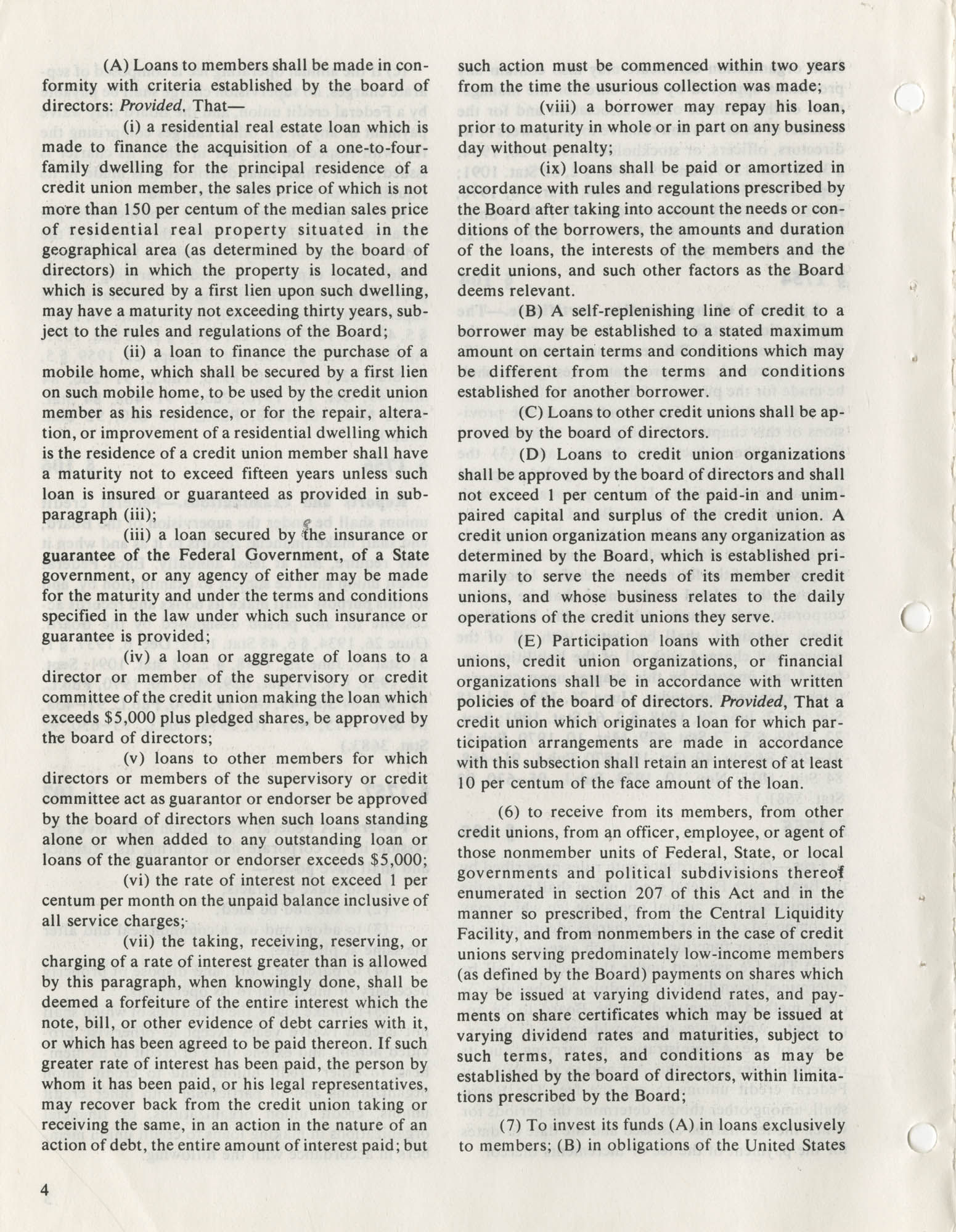 The Federal Credit Union Act, June 1979, Page 4