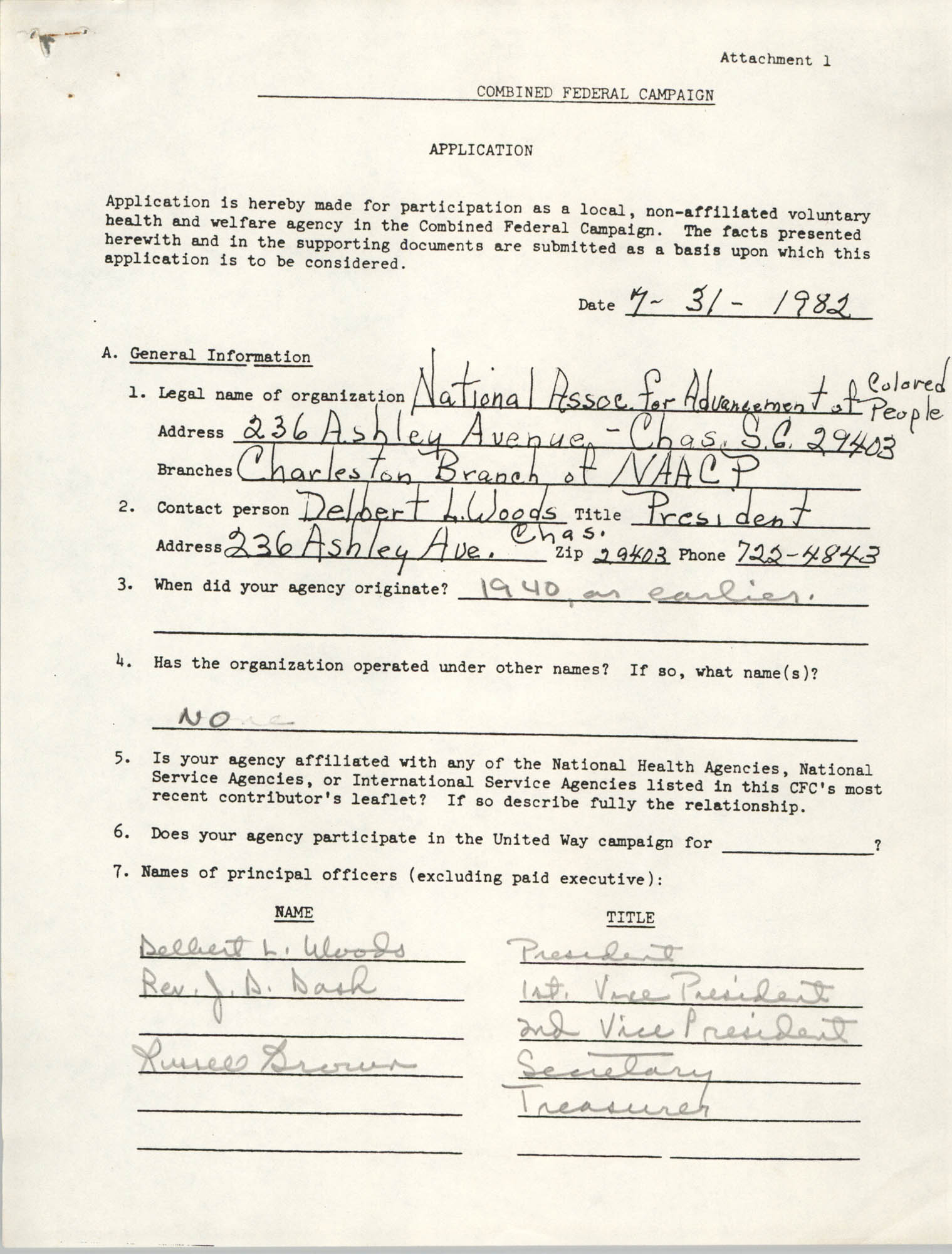 Combined Federal Campaign Application, July 31, 1982, Page 1