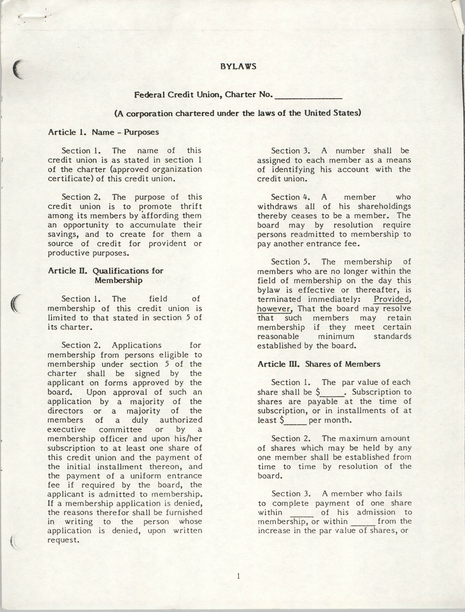 National Credit Union Administration, Federal Credit Union Bylaws, May 1986, Page 1