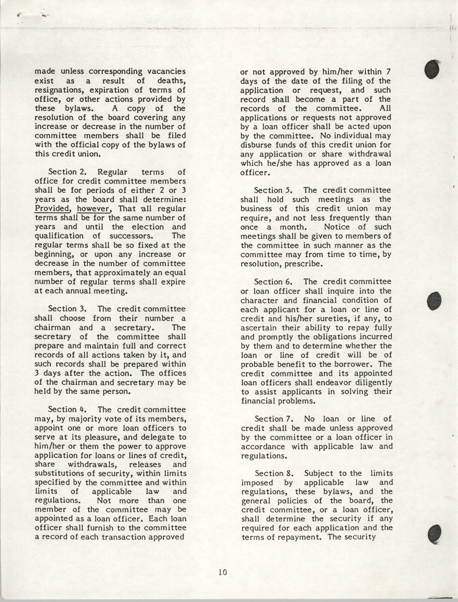 National Credit Union Administration, Federal Credit Union Bylaws, May 1986, Page 10