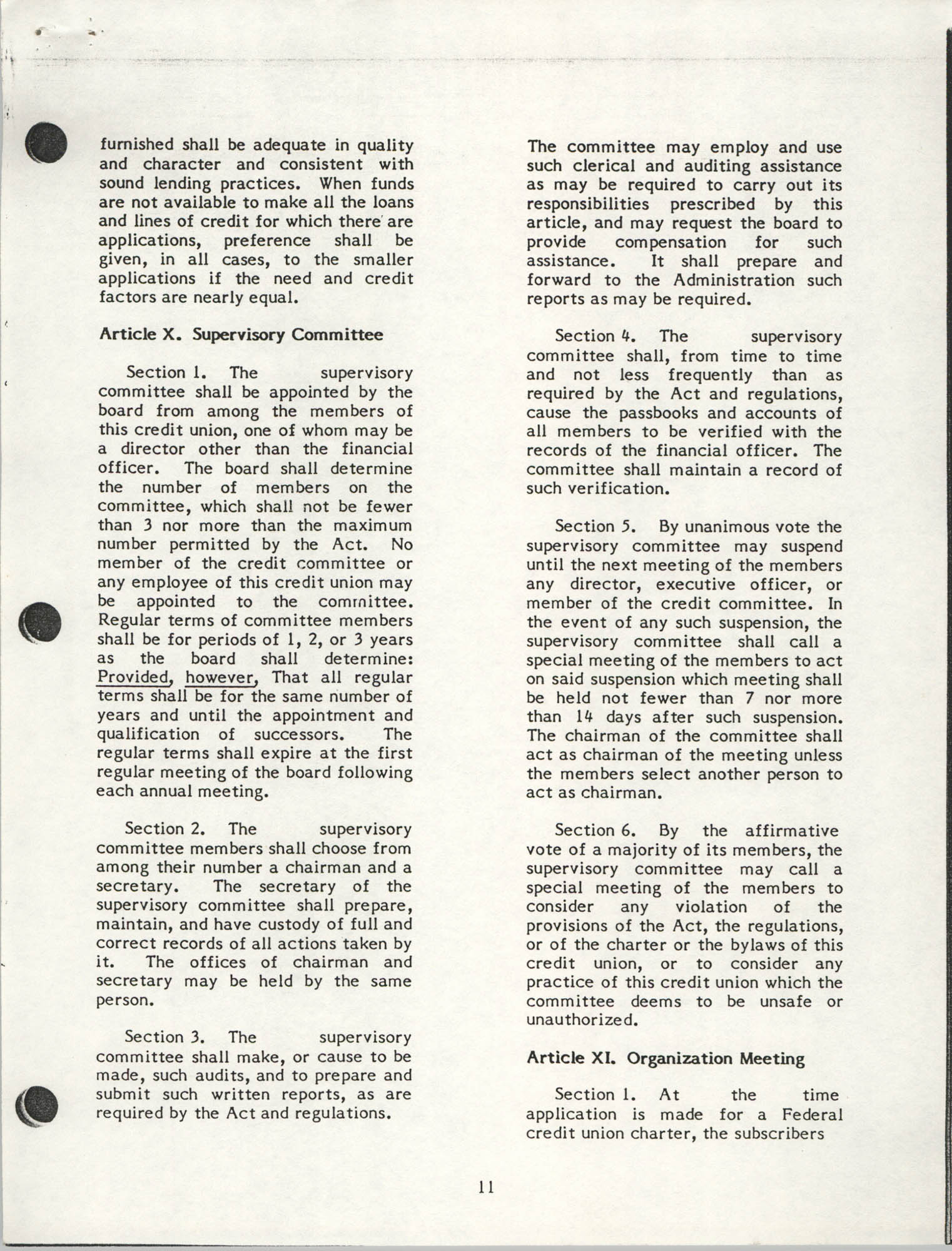 National Credit Union Administration, Federal Credit Union Bylaws, May 1986, Page 11