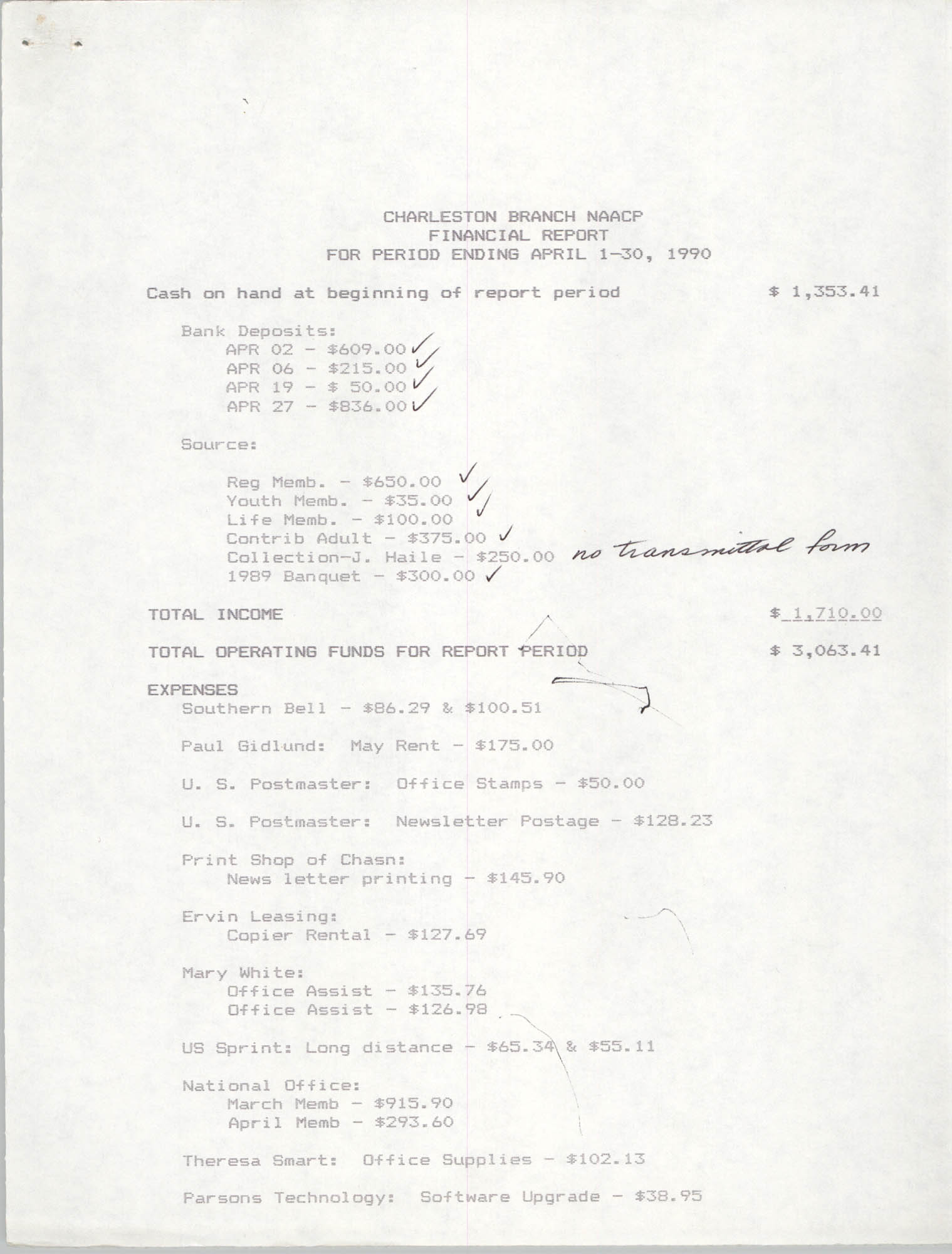 Charleston Branch of the NAACP Financial Report, April 1990, Page 1