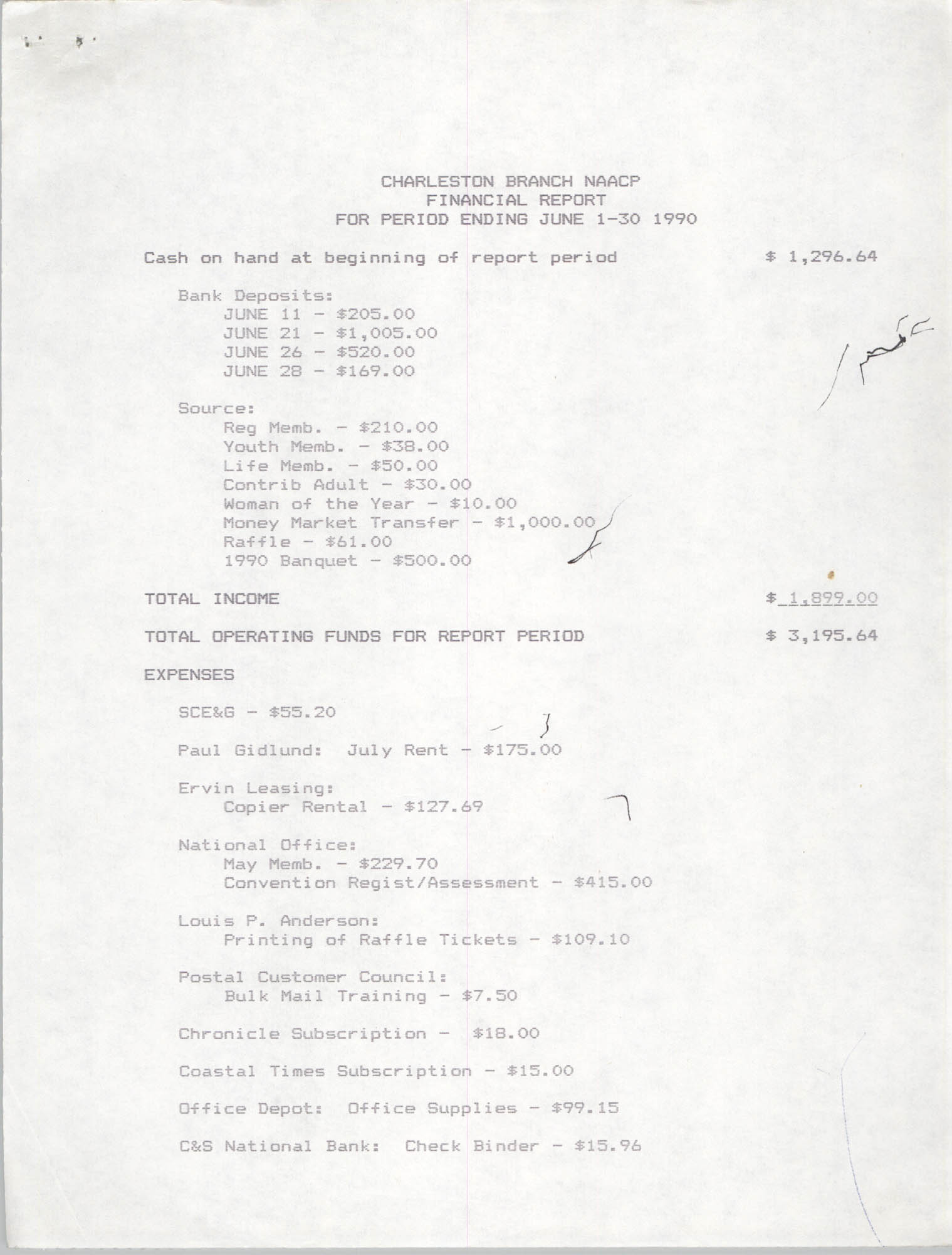 Charleston Branch of the NAACP Financial Report, June 1990, Page 1