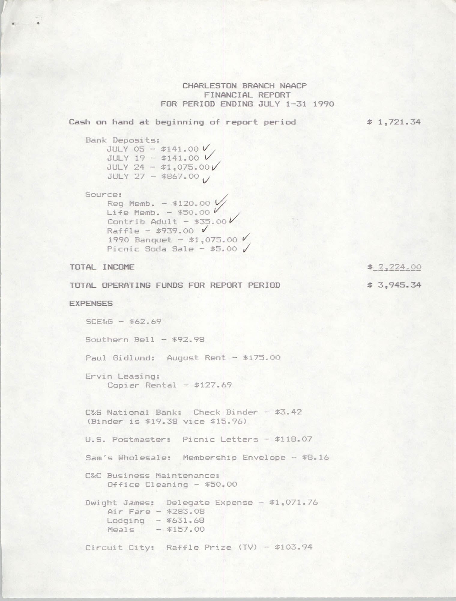 Charleston Branch of the NAACP Financial Report, July 1990, Page 1