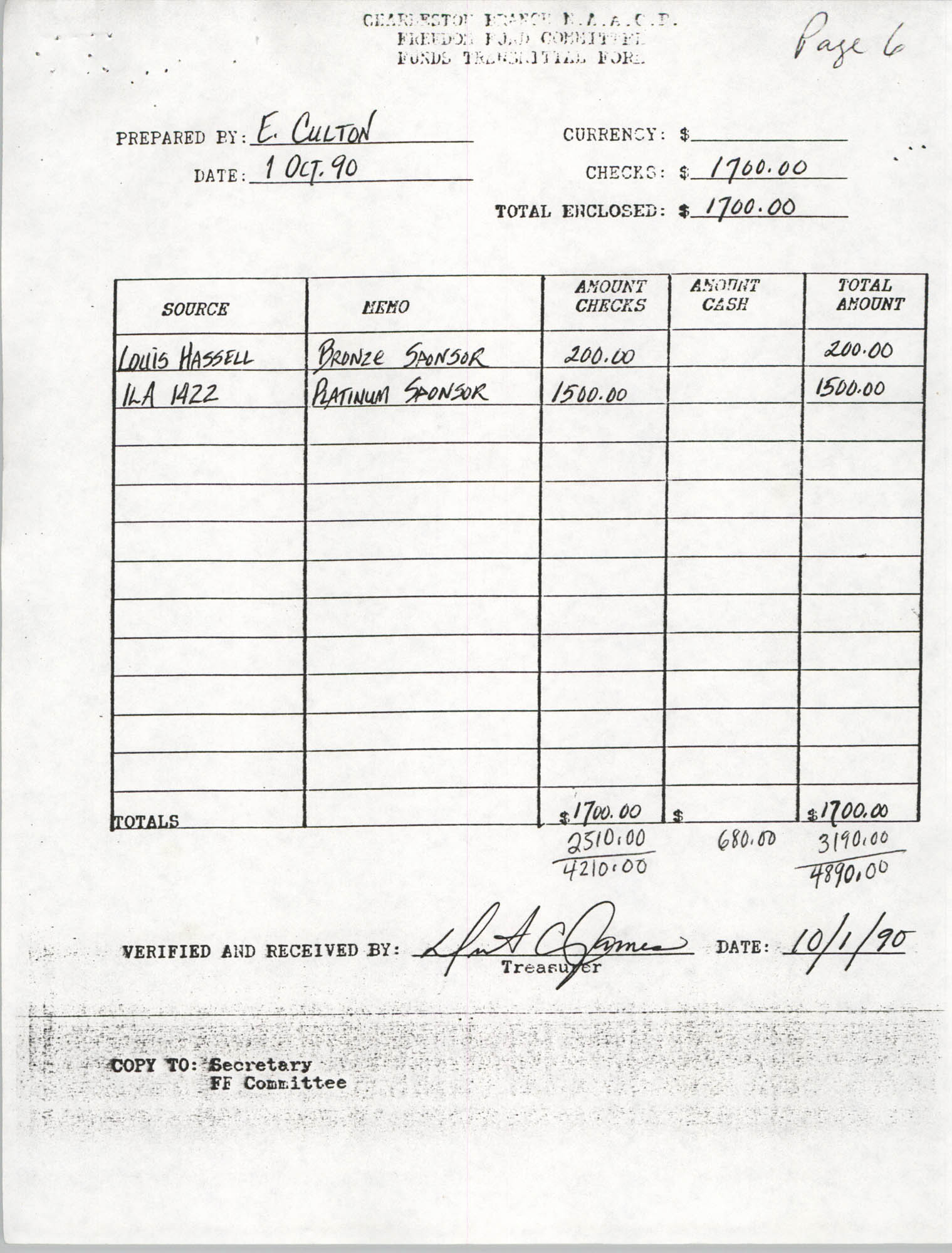 Charleston Branch of the NAACP, Funds Transmittal Forms, October 1990, Page 16