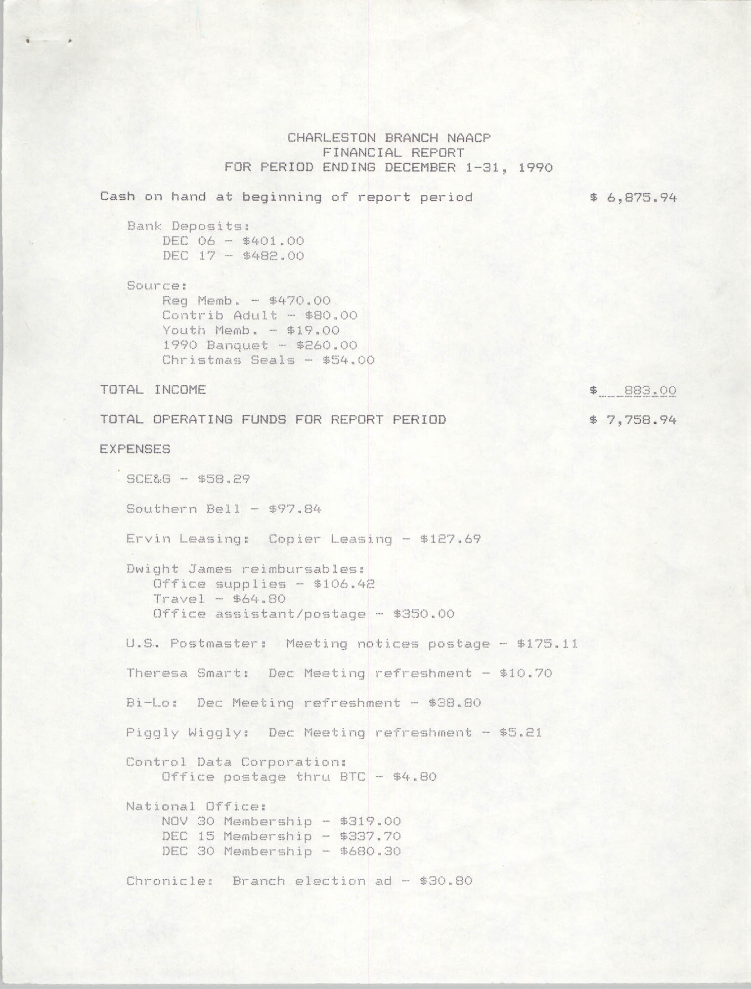 Charleston Branch of the NAACP Financial Report, December 1990, Page 1