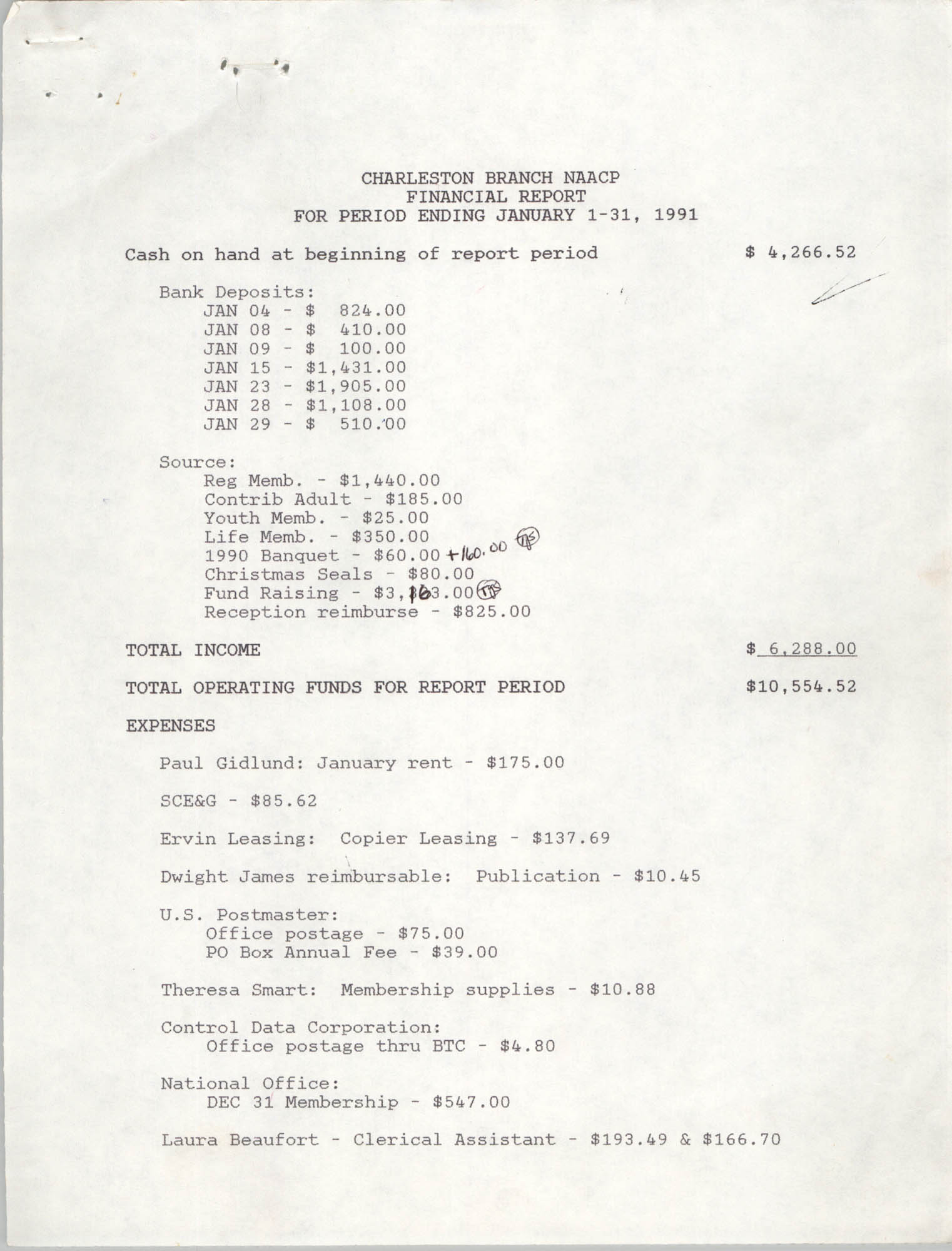 Charleston Branch of the NAACP Financial Report,  January 1991, Page 1