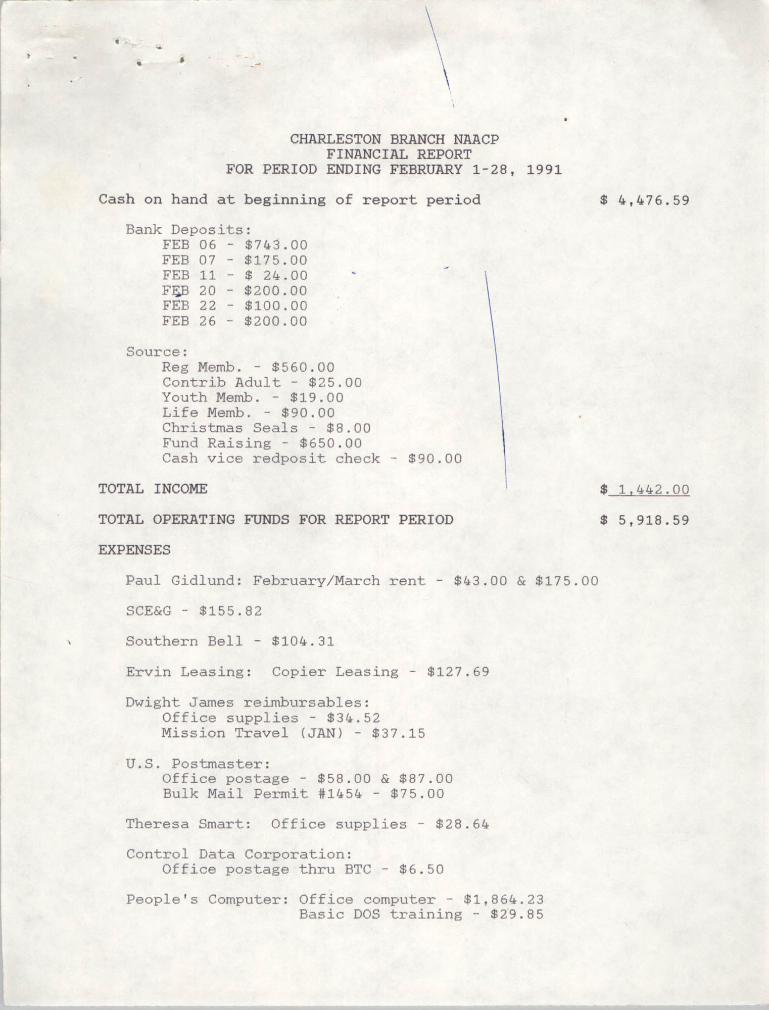 Charleston Branch of the NAACP Financial Report, February 1991, Page 1