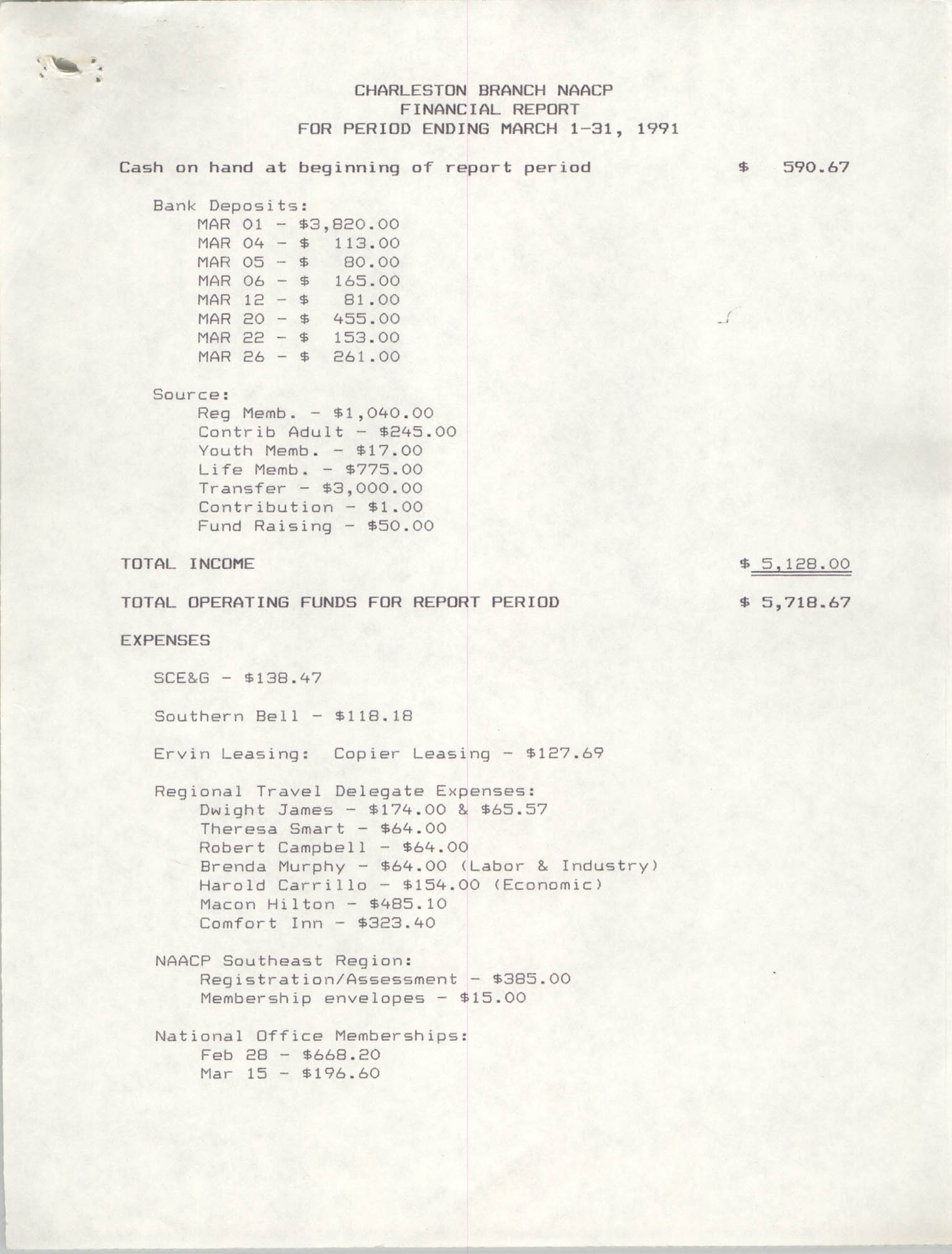 Charleston Branch of the NAACP Financial Report, March 1991, Page 1