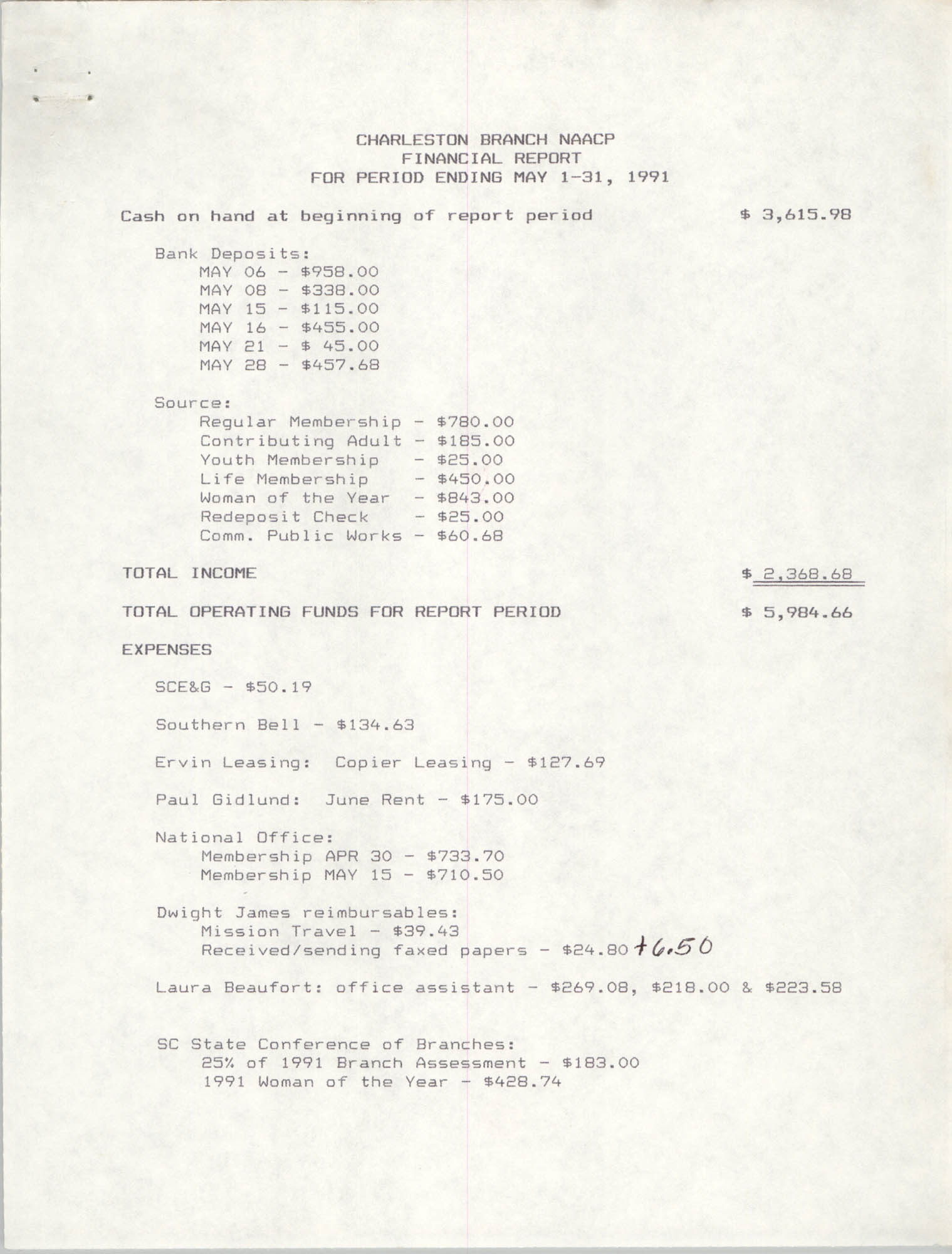 Charleston Branch of the NAACP Financial Report, May 1991, Page 1
