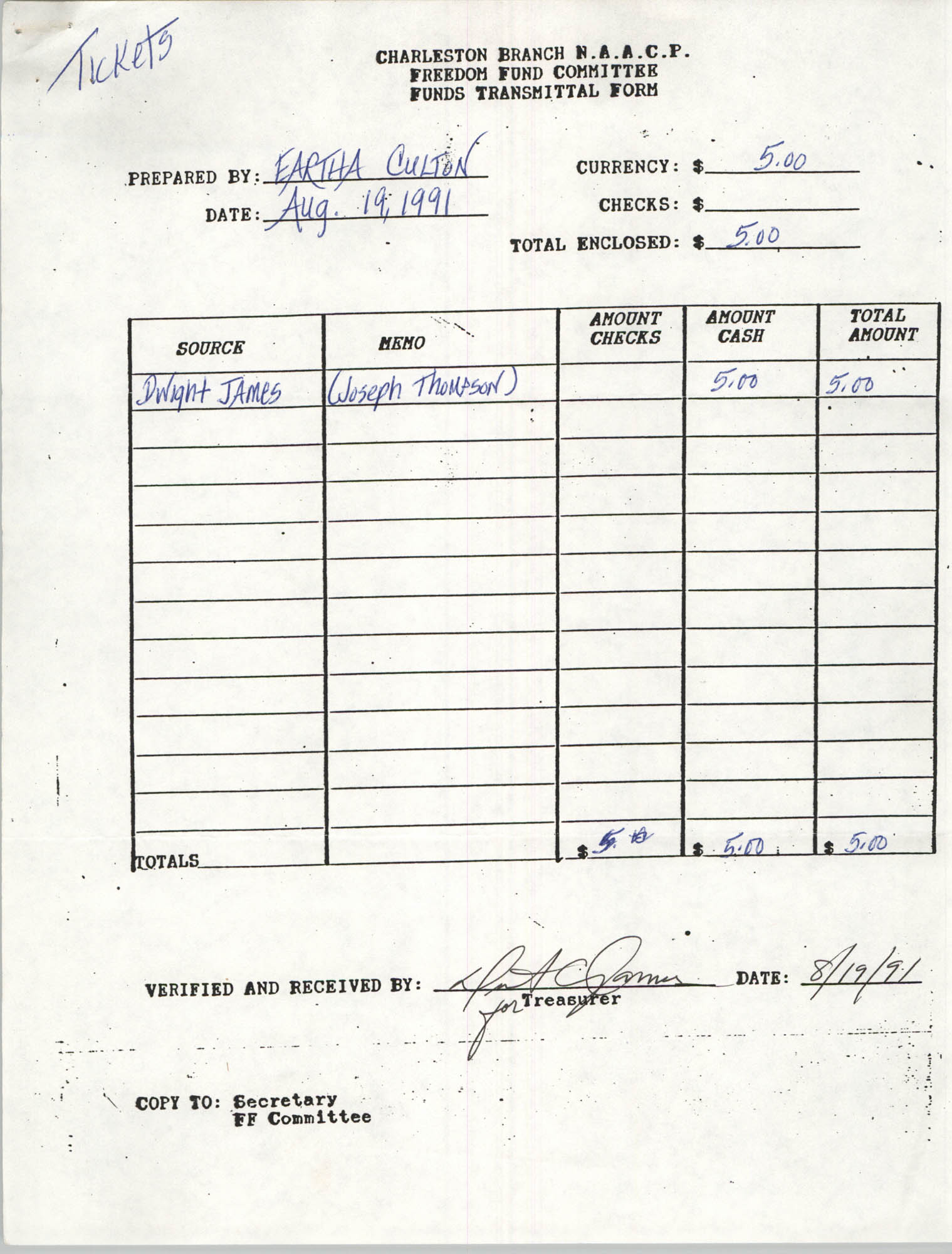 Charleston Branch of the NAACP Funds Transmittal Forms, August 1991, Page 17
