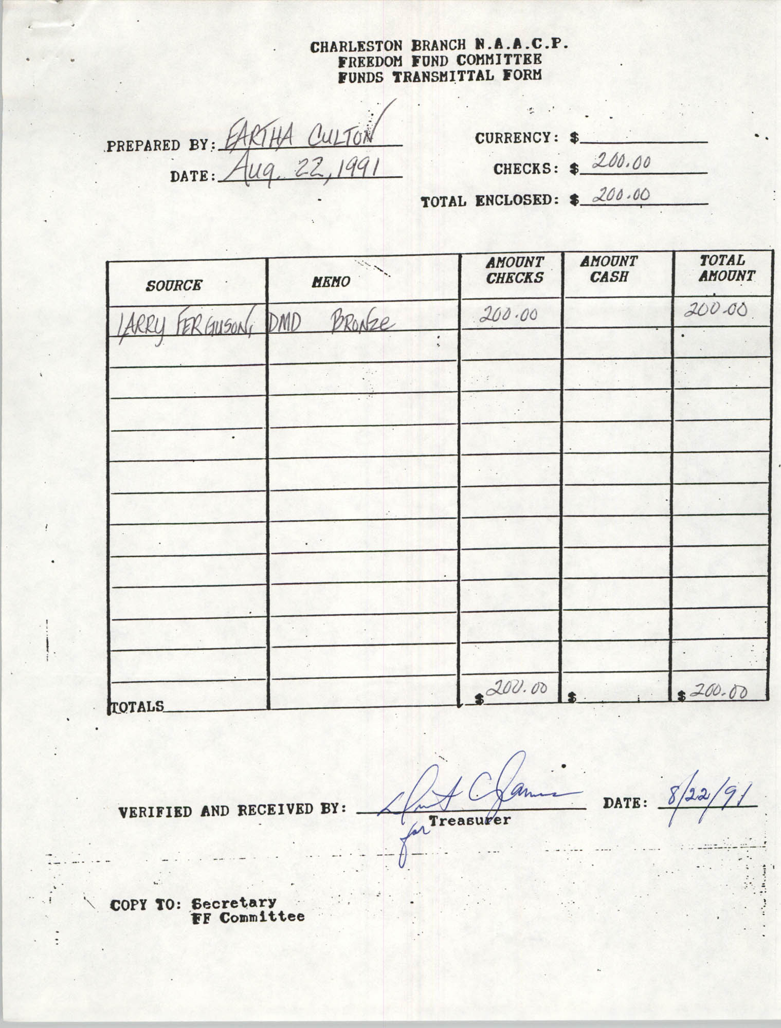 Charleston Branch of the NAACP Funds Transmittal Forms, August 1991, Page 24