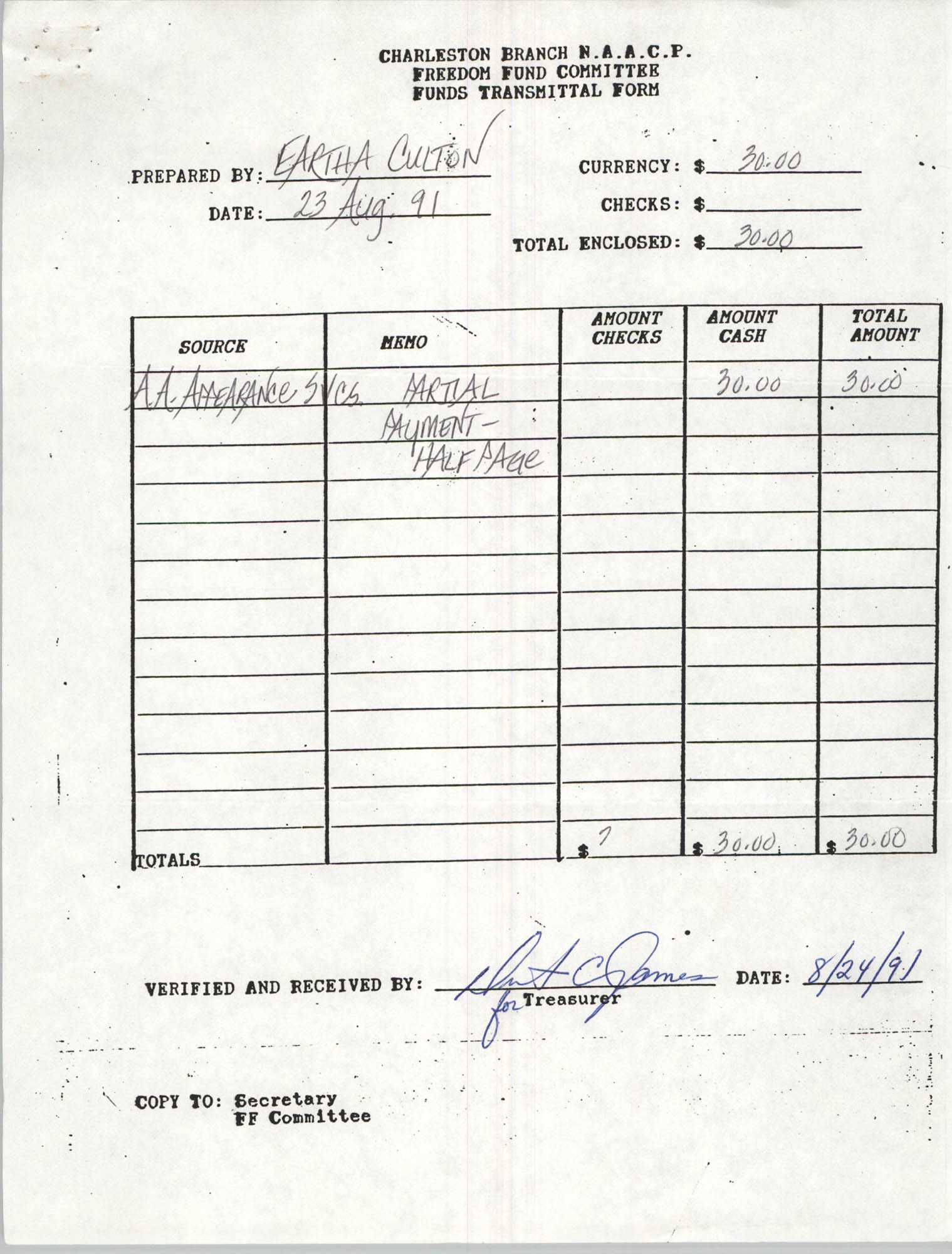 Charleston Branch of the NAACP Funds Transmittal Forms, August 1991, Page 26