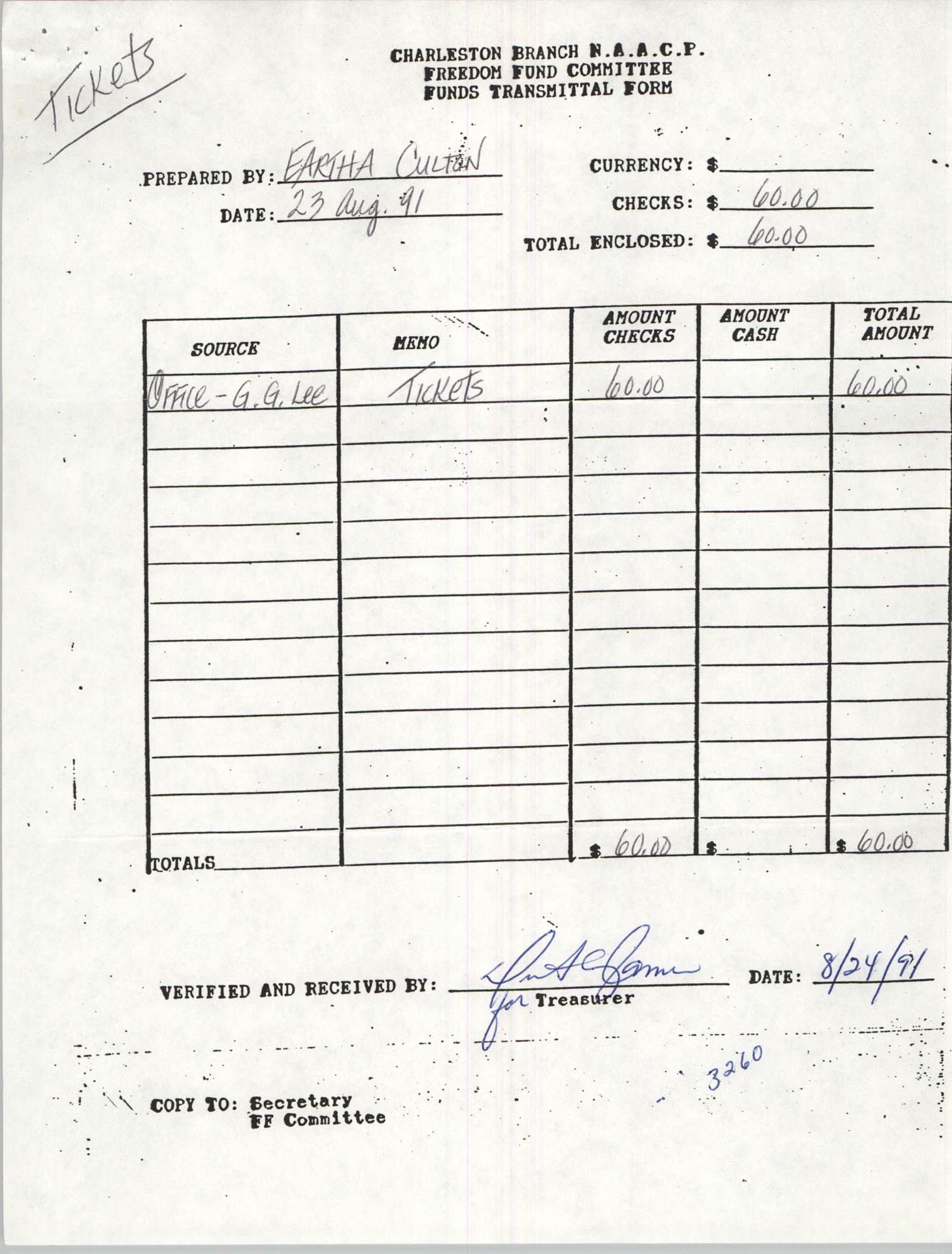 Charleston Branch of the NAACP Funds Transmittal Forms, August 1991, Page 28