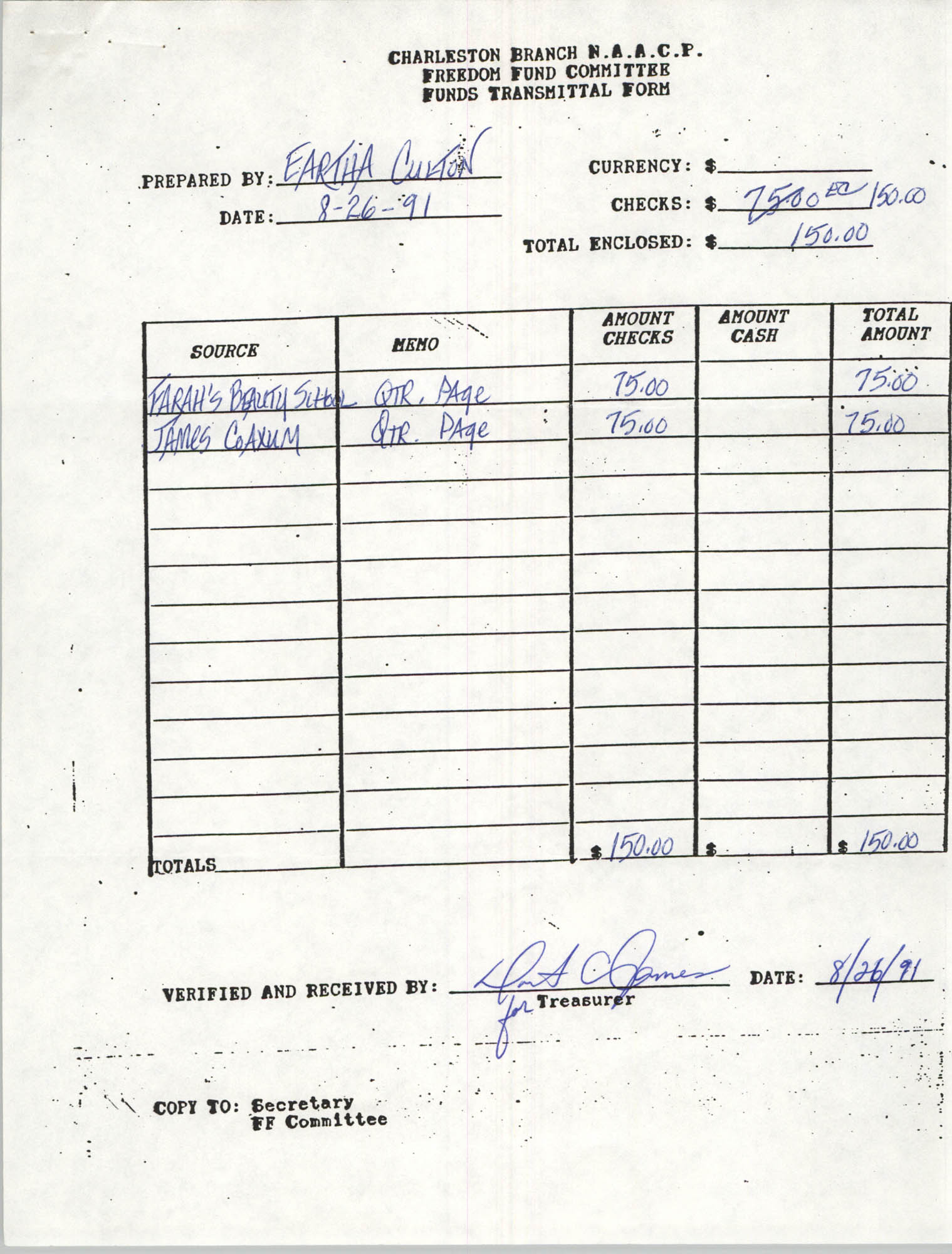Charleston Branch of the NAACP Funds Transmittal Forms, August 1991, Page 31