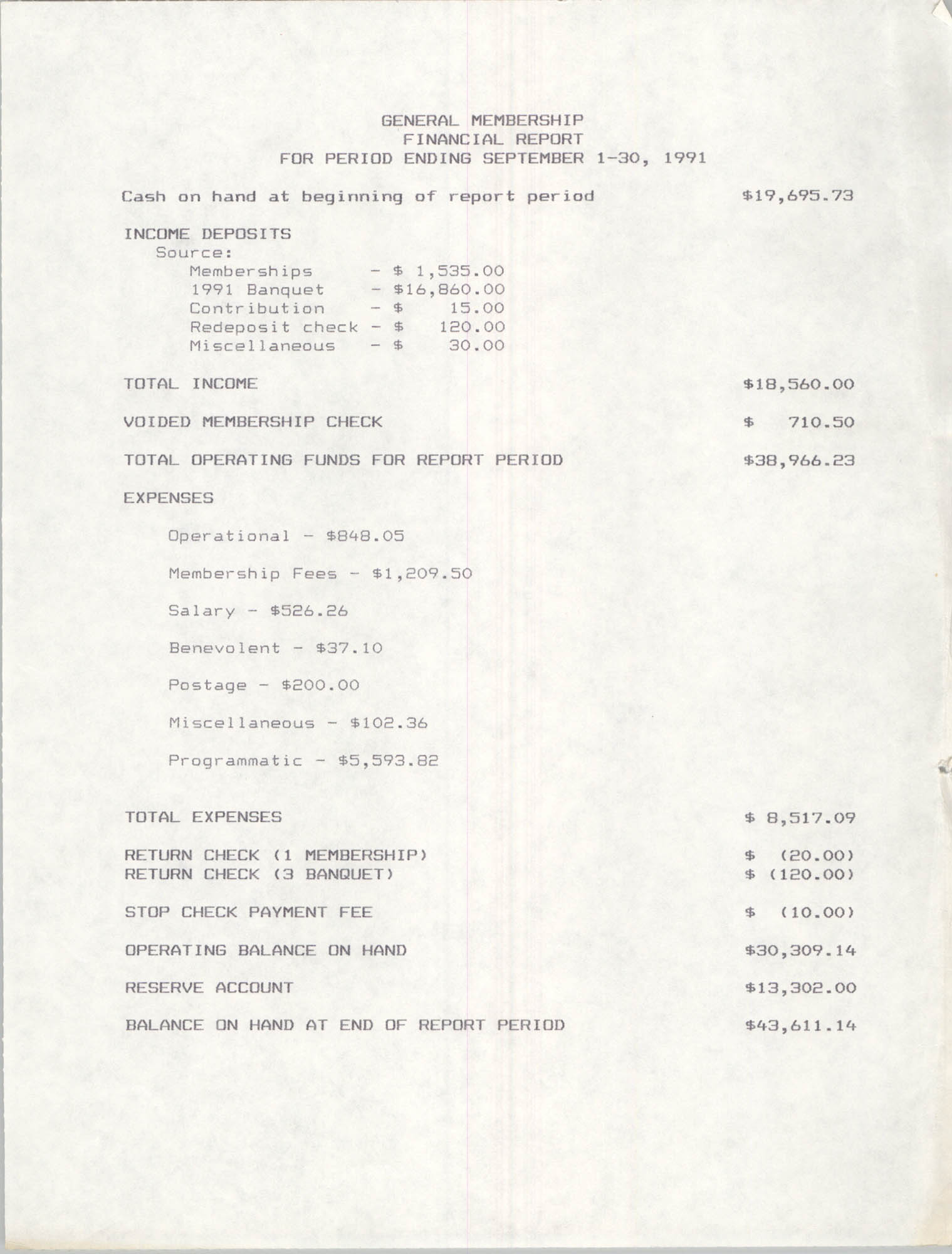General Membership Meeting, Charleston Branch of the NAACP Financial Report, September 1991