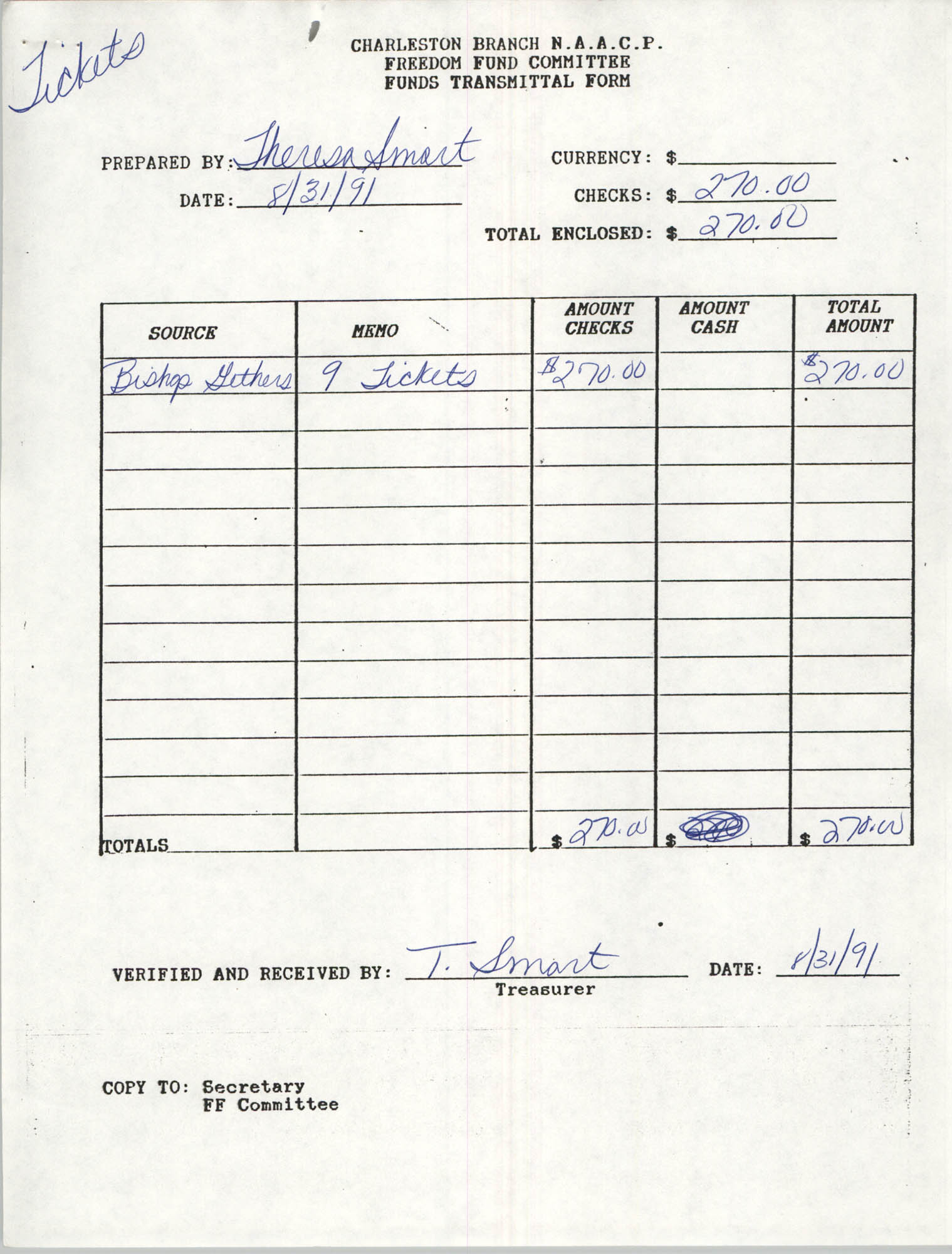 Charleston Branch of the NAACP Funds Transmittal Forms, September 1991, Page 2