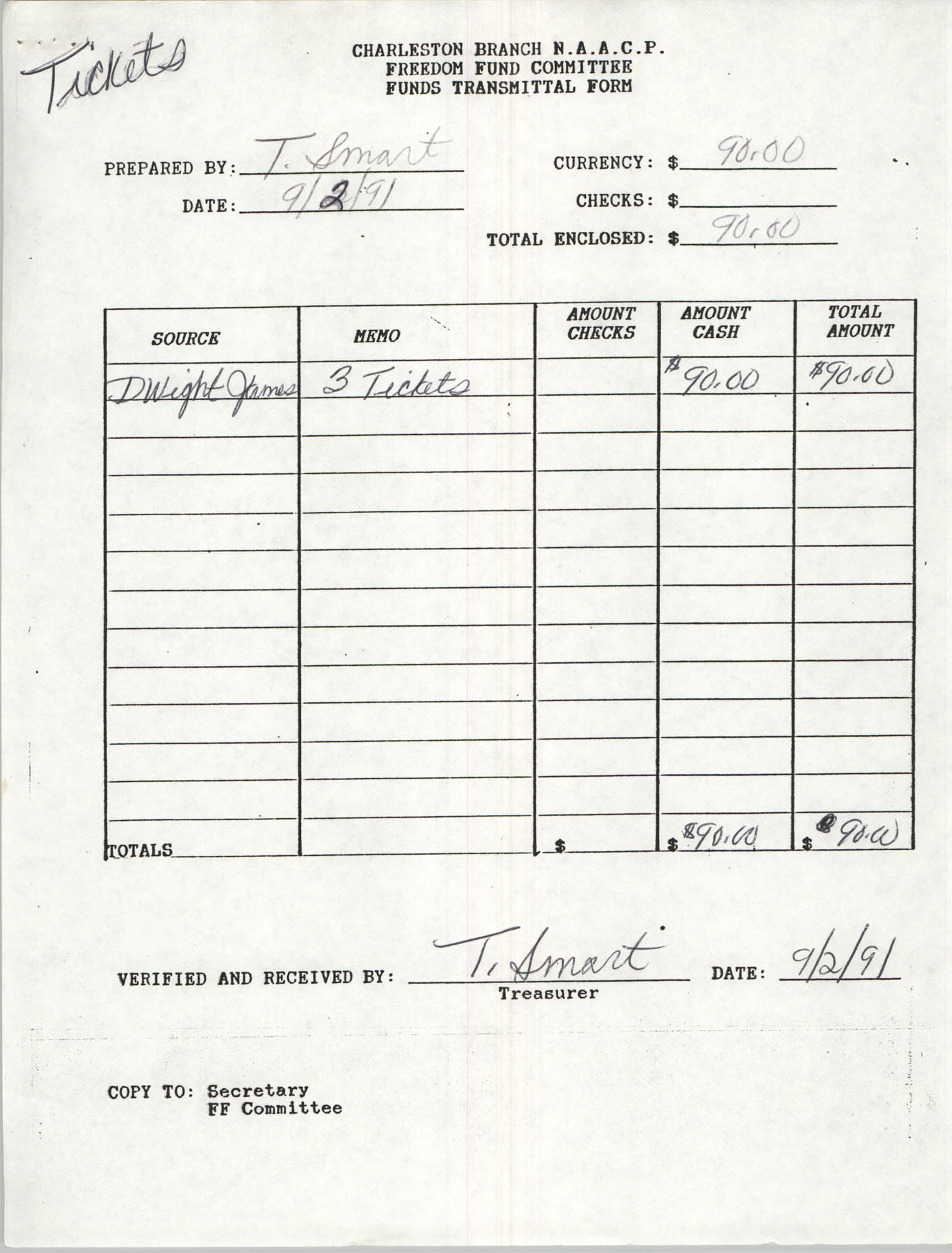 Charleston Branch of the NAACP Funds Transmittal Forms, September 1991, Page 5