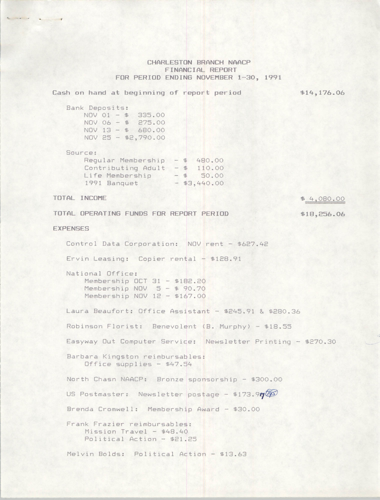 Charleston Branch of the NAACP Financial Report, November 1991, Page 1