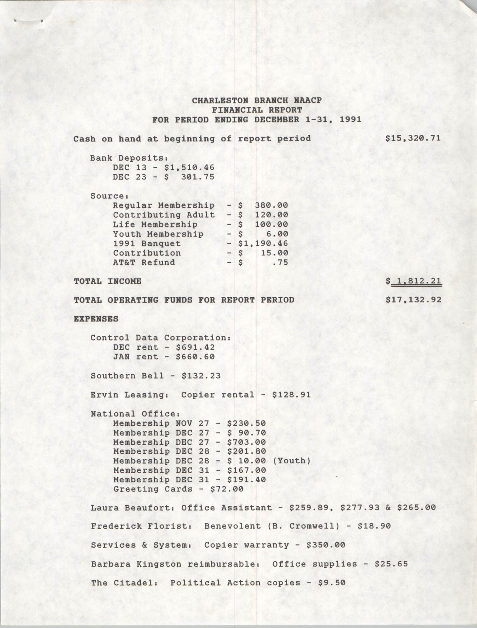 Charleston Branch of the NAACP Financial Report, December 1991, Page 1