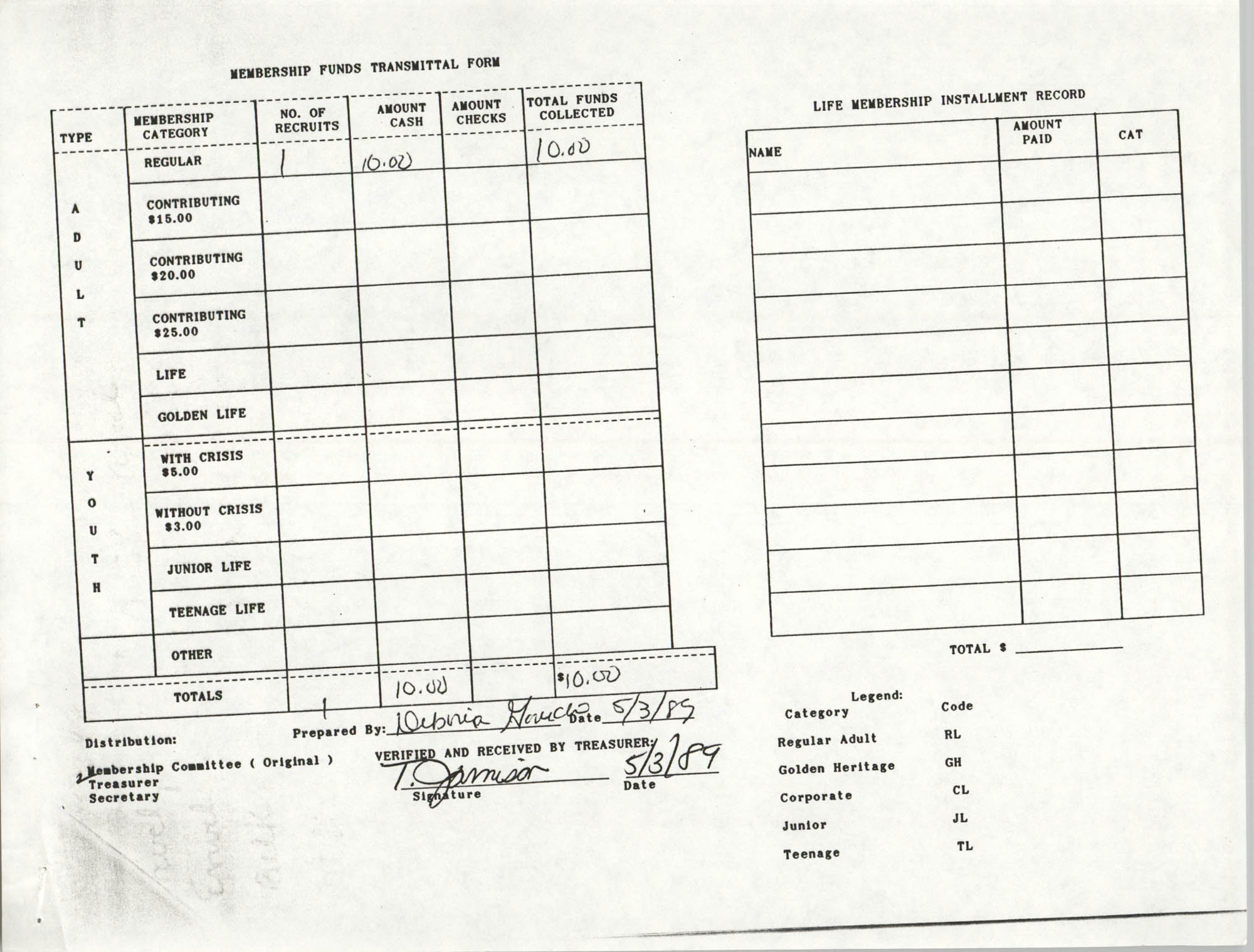 Charleston Branch of the NAACP Funds Transmittal Forms, May 1989, Page 1