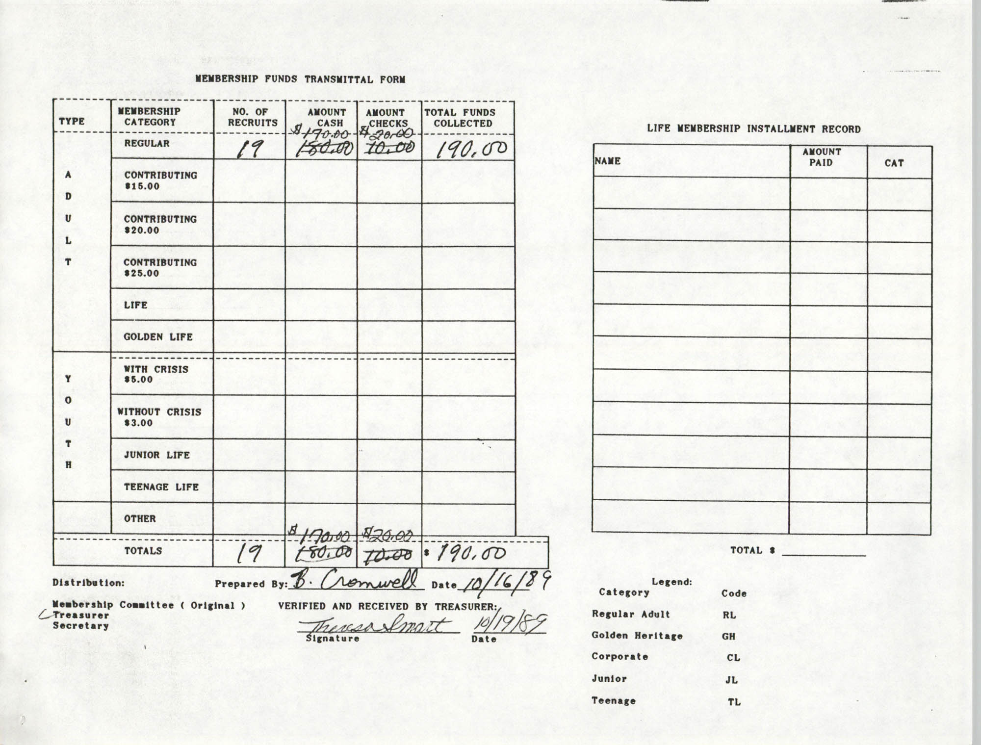 Charleston Branch of the NAACP Funds Transmittal Forms, October 1989, Page 5