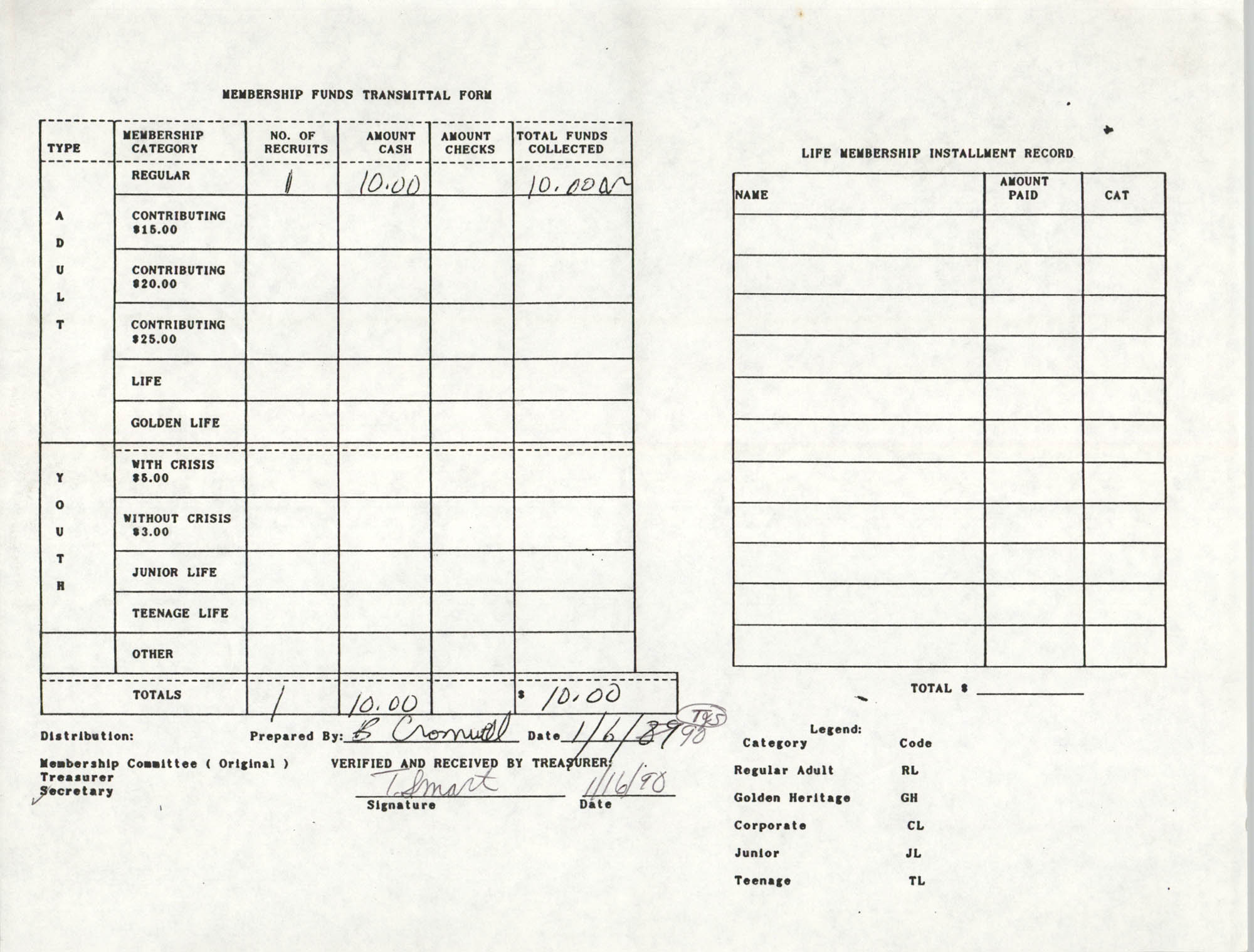 Charleston Branch of the NAACP Funds Transmittal Forms, January 1990, Page 3