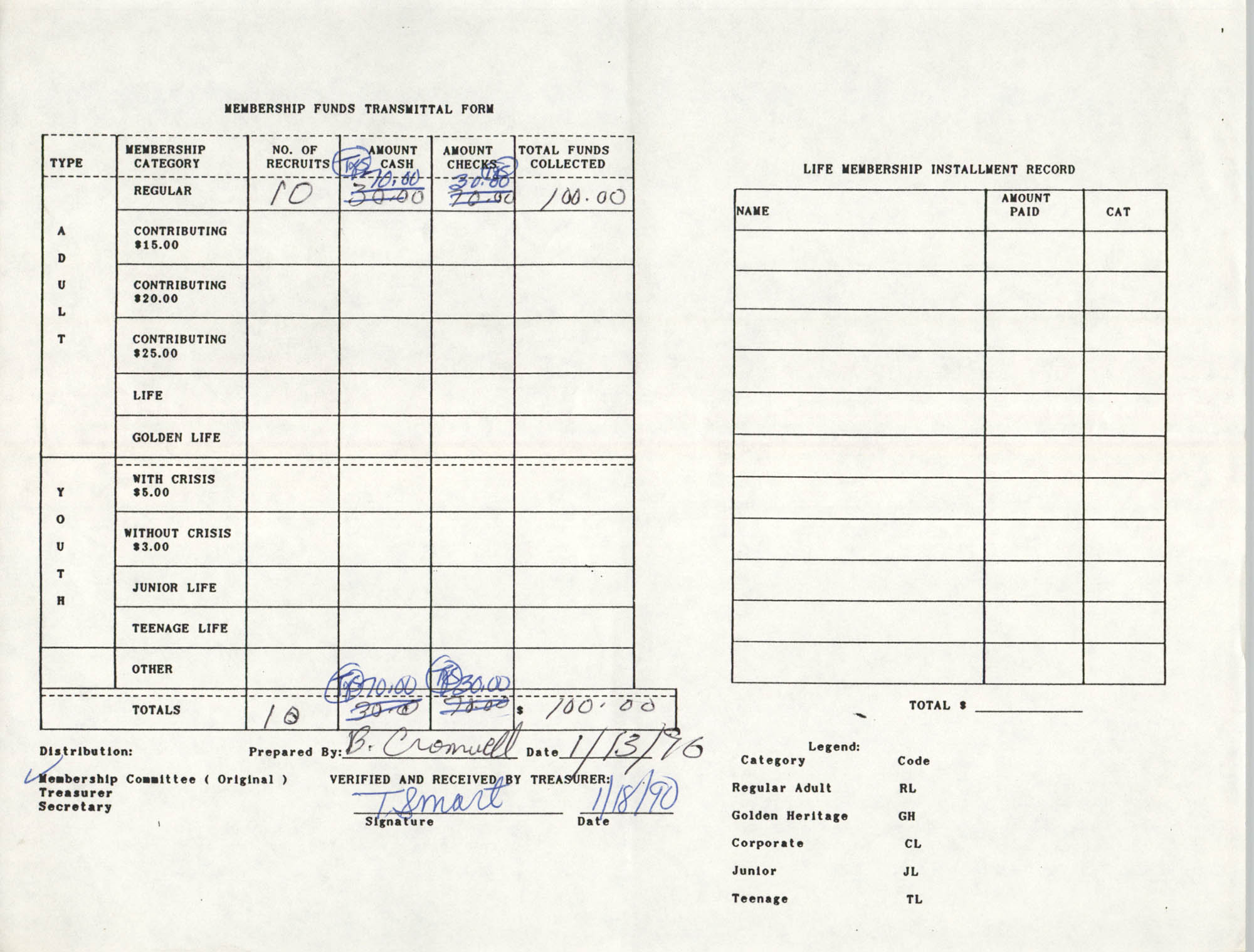 Charleston Branch of the NAACP Funds Transmittal Forms, January 1990, Page 4