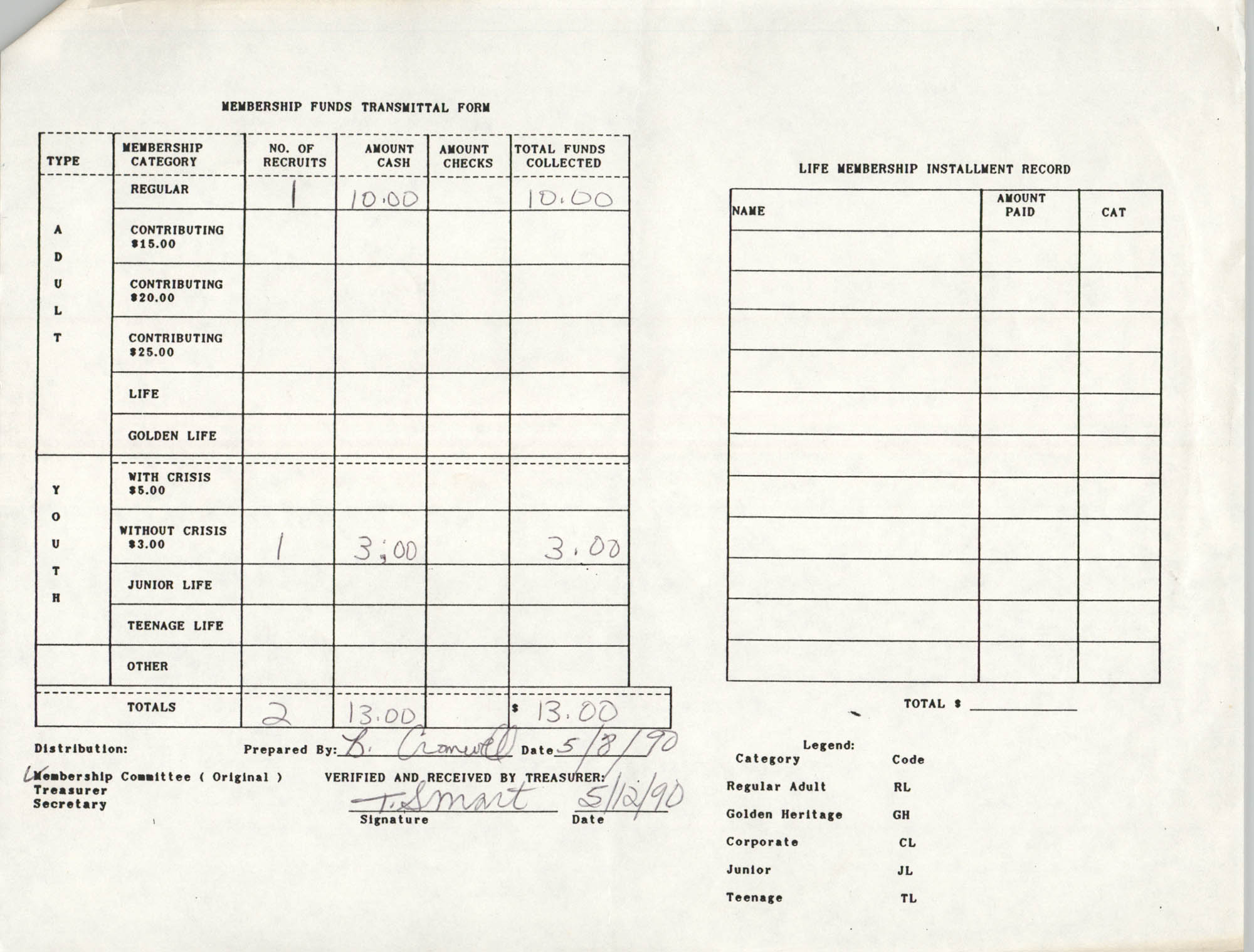 Charleston Branch of the NAACP Funds Transmittal Forms, May 1990, Page 2