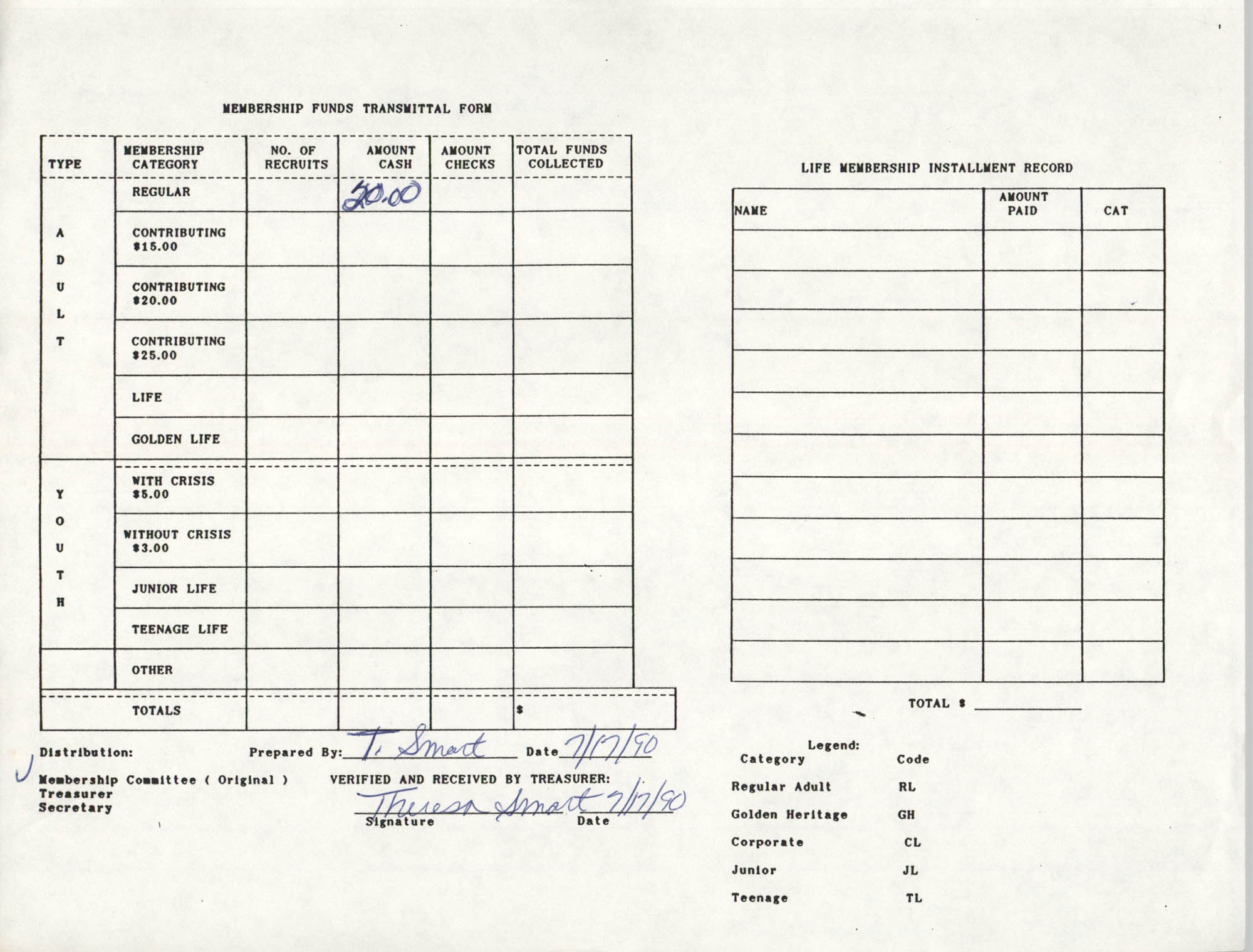 Charleston Branch of the NAACP Funds Transmittal Forms, July 1990, Page 1