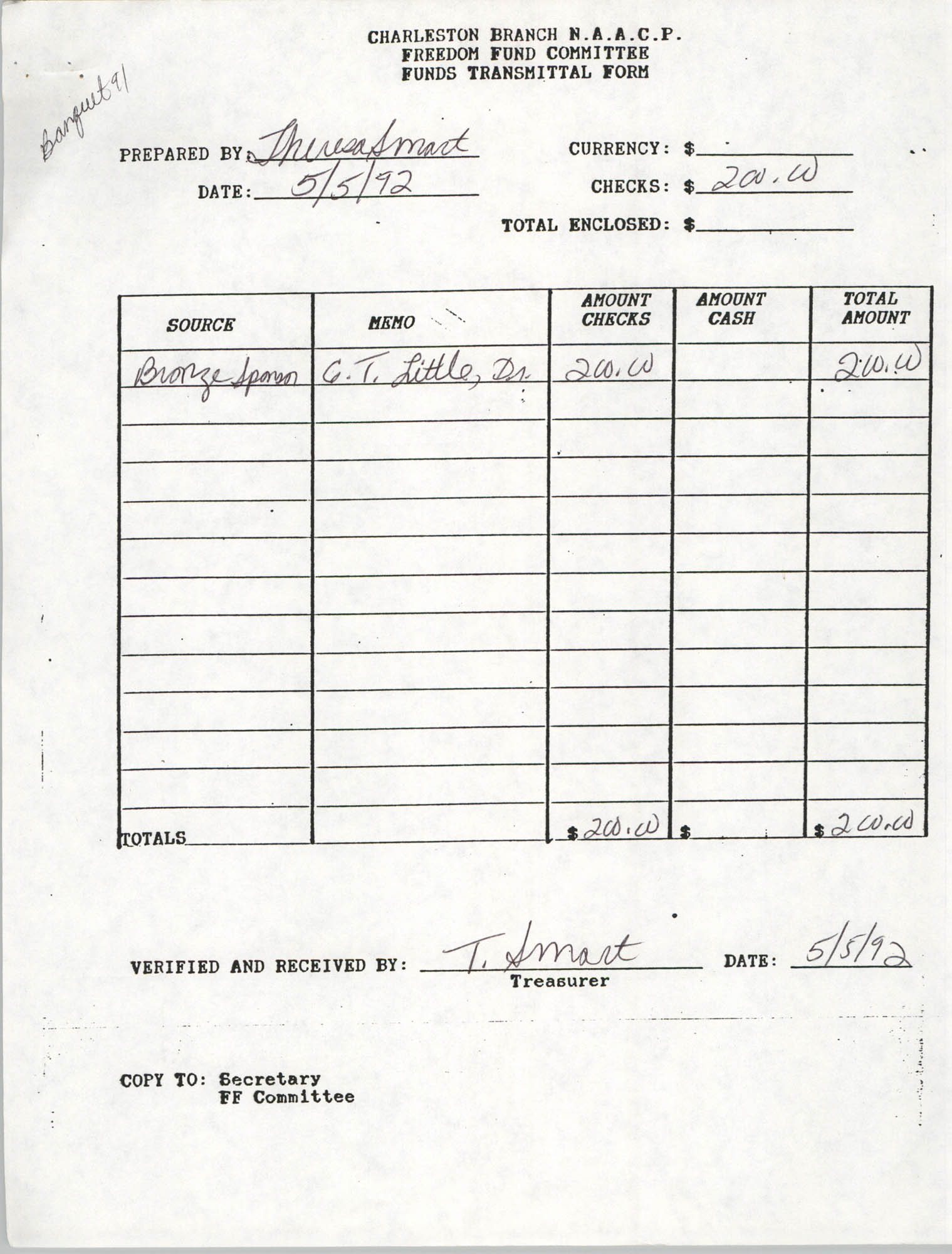 Charleston Branch of the NAACP Funds Transmittal Forms, May 1992, Page 1