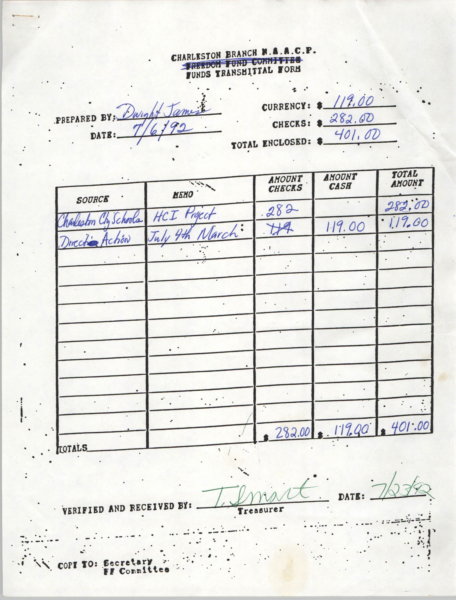 Charleston Branch of the NAACP Funds Transmittal Forms, July 1992, Page 1