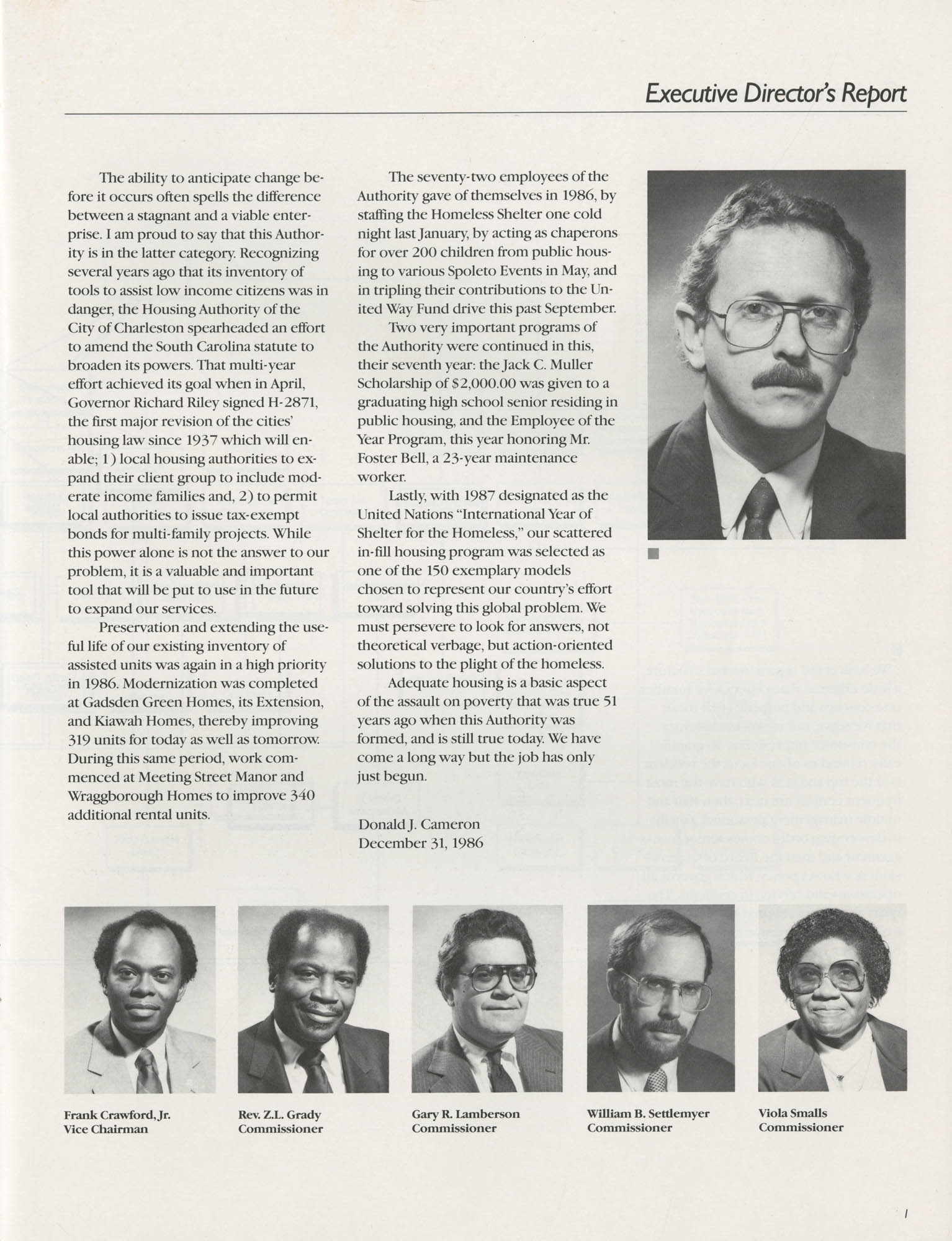 1986 Annual Report, The Housing Authority of the City of Charleston, Page 1