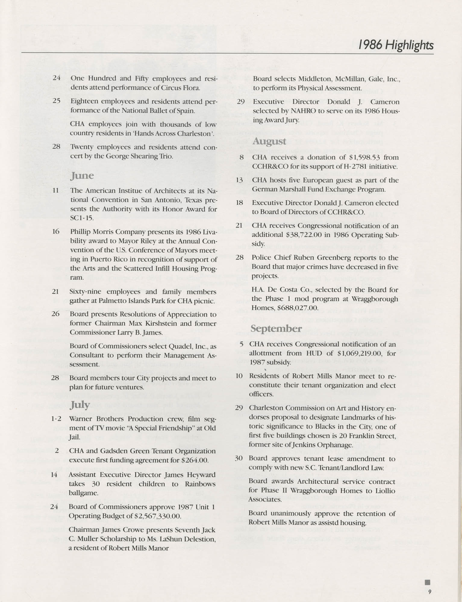 1986 Annual Report, The Housing Authority of the City of Charleston, Page 9