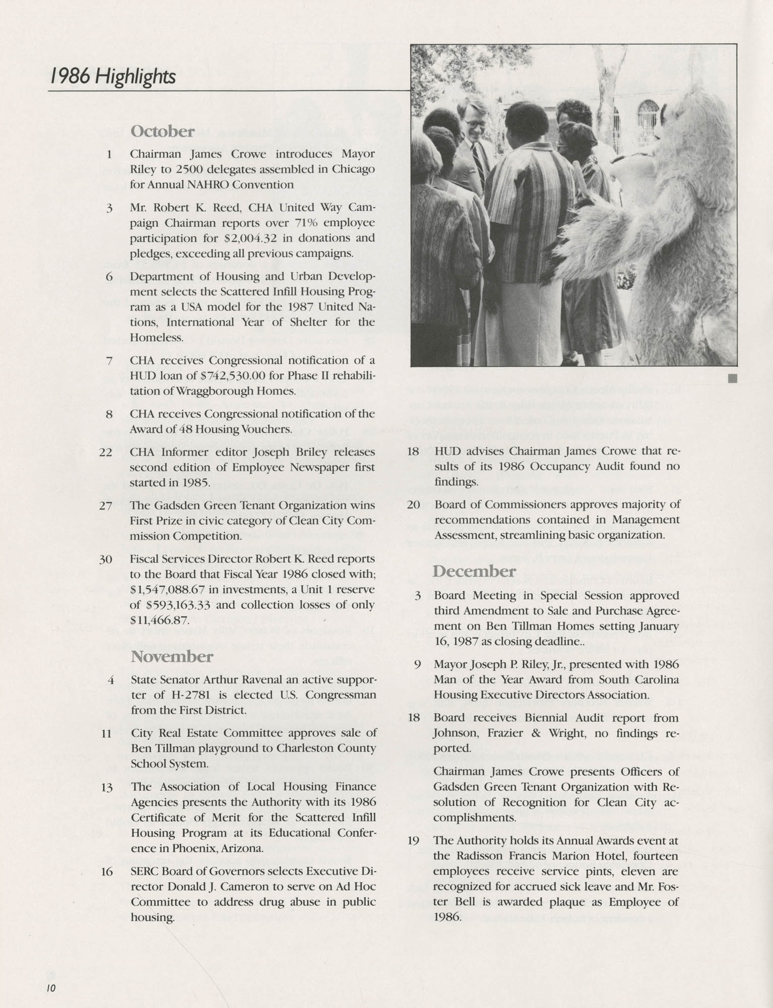 1986 Annual Report, The Housing Authority of the City of Charleston, Page 10