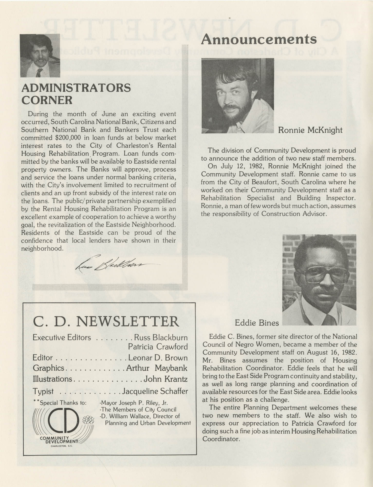 C. D. Newsletter, A City of Charleston Community Development Publication, Summer Issue - 1982, Page 1