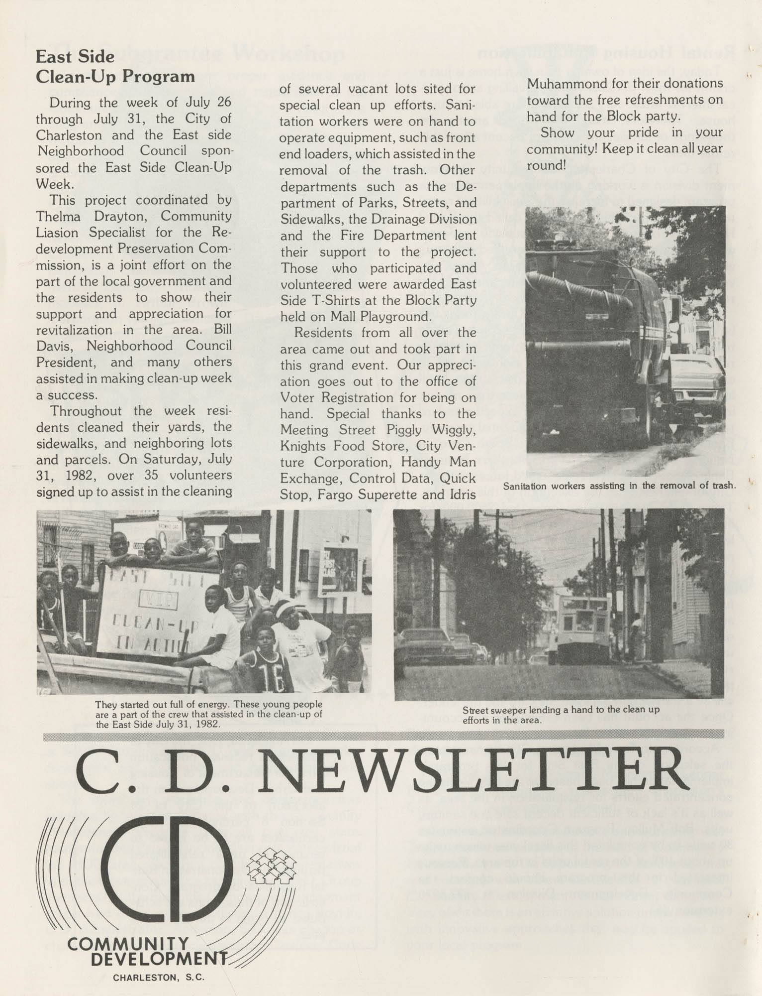 C. D. Newsletter, A City of Charleston Community Development Publication, Summer Issue - 1982, Page 8