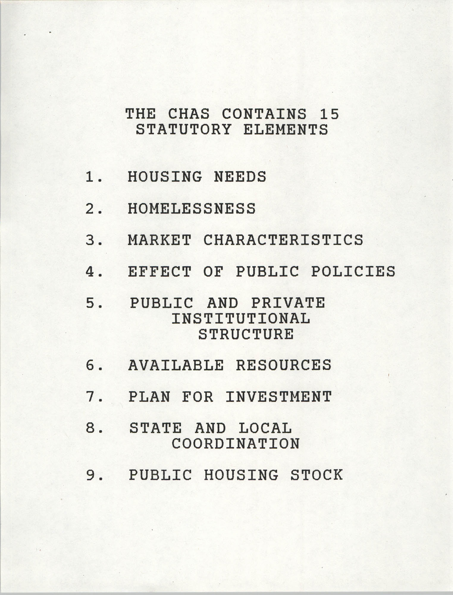 The CHAS Contains 15 Statutory Elements, Page 1