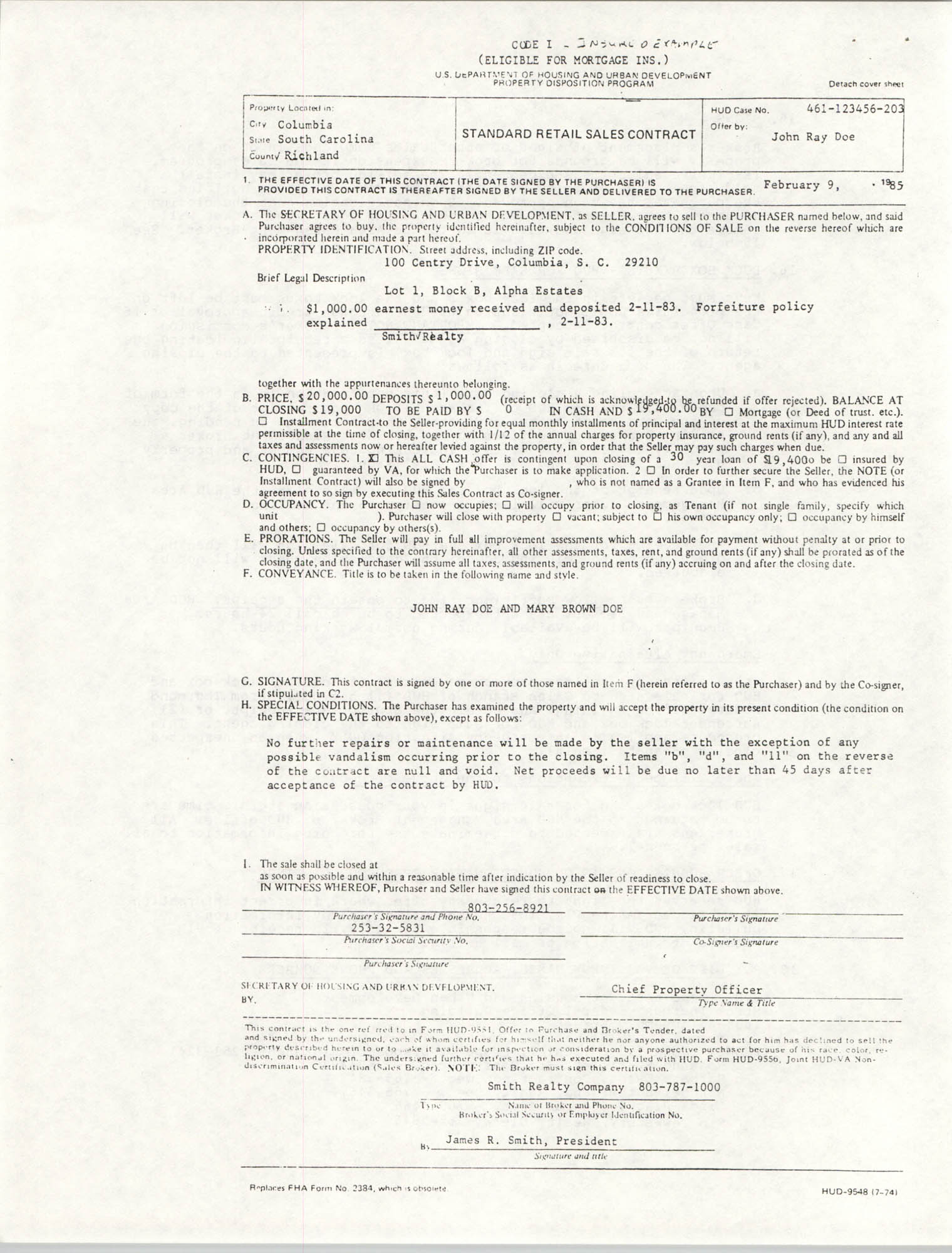 Standard Retail Sales Contract, Code I, Insured Example