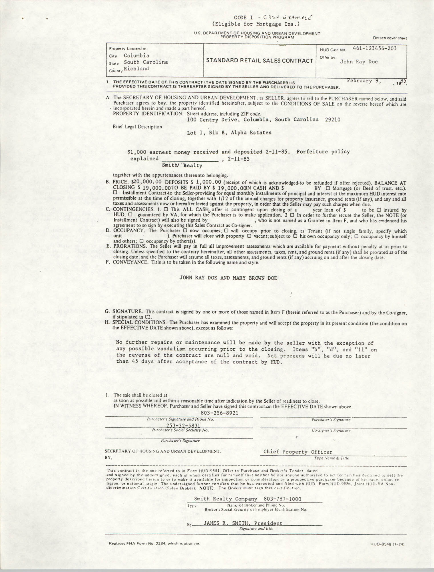 Standard Retail Sales Contract, Code I, Cash Example