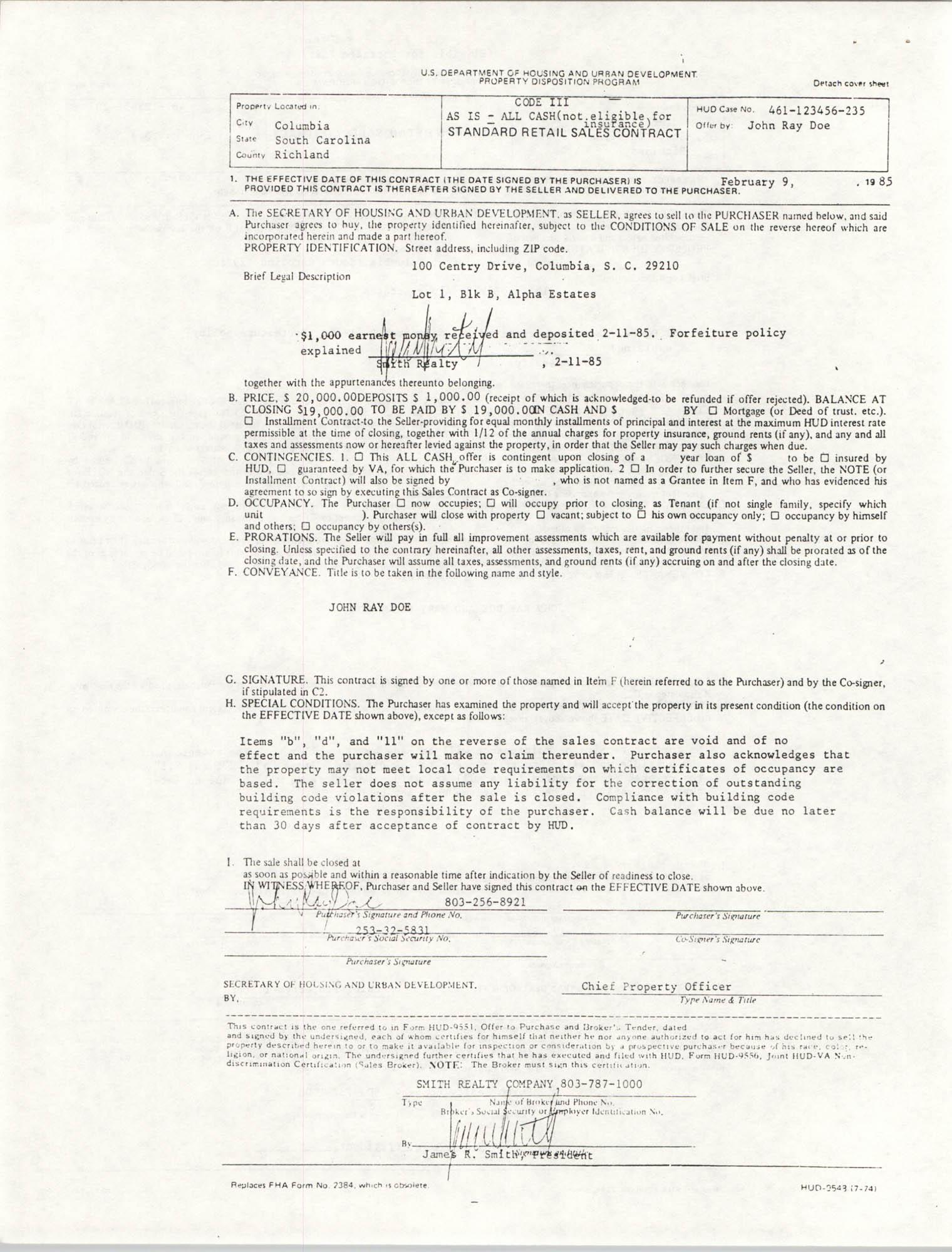 Standard Retail Sales Contract, Code III, Cash Example