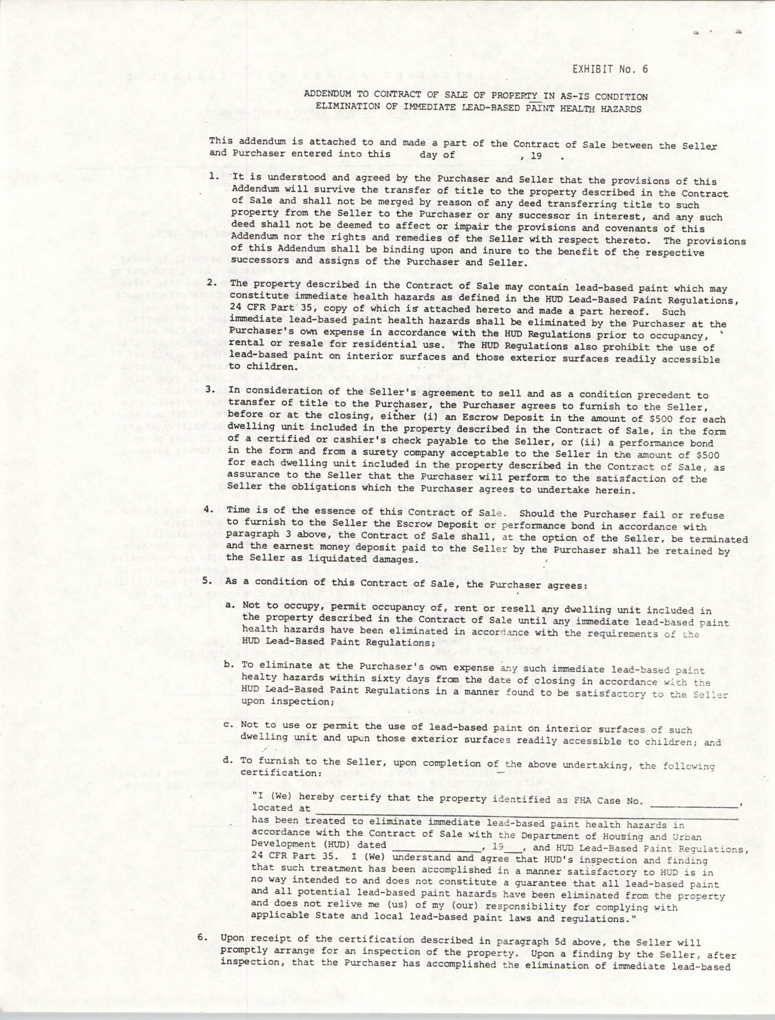 Addendum to Contract of Sale of Property in As-Is Condition, Page 1