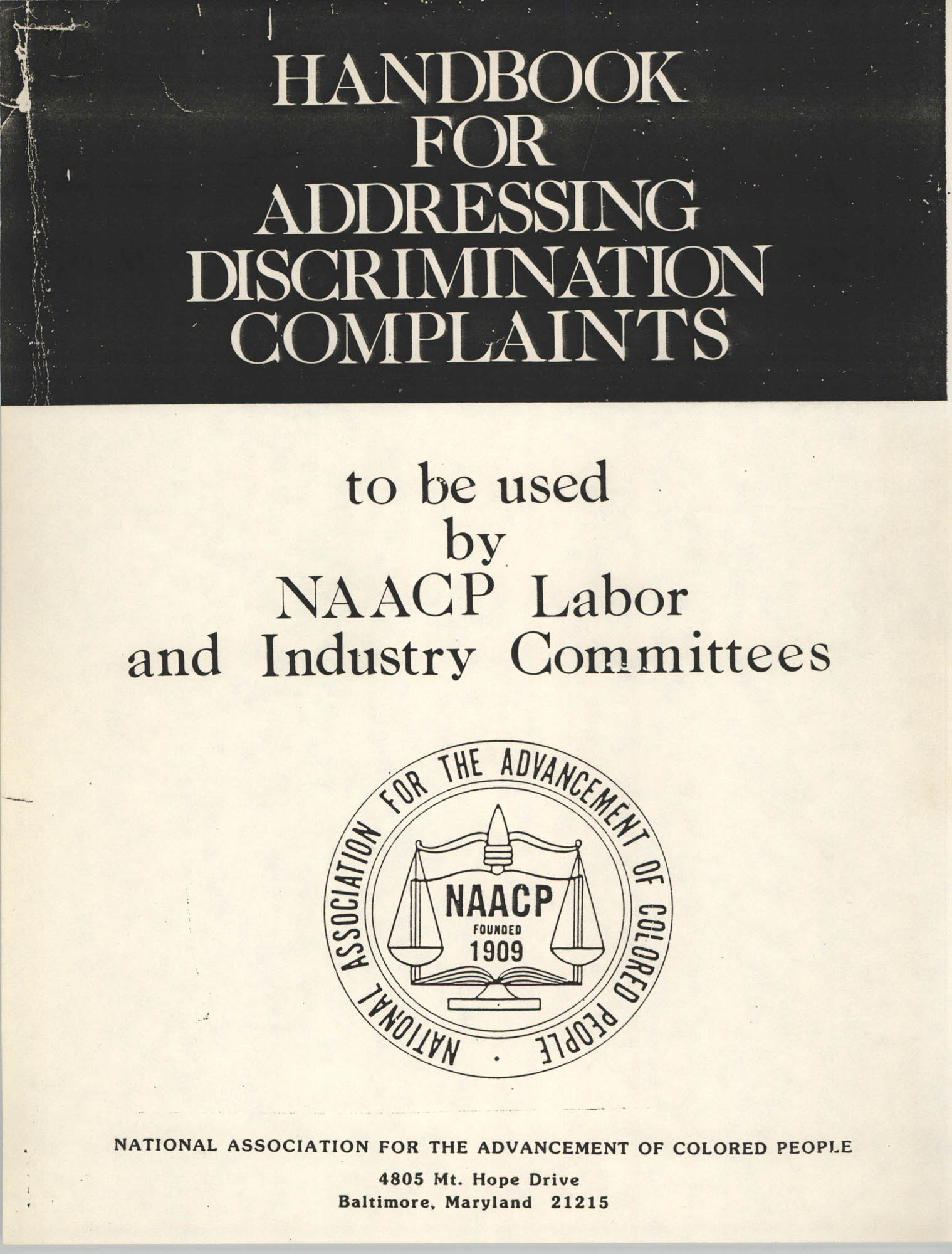 Handbook for Addressing Discrimination Complaints, NAACP Labor and Industry Committees, Cover Exterior