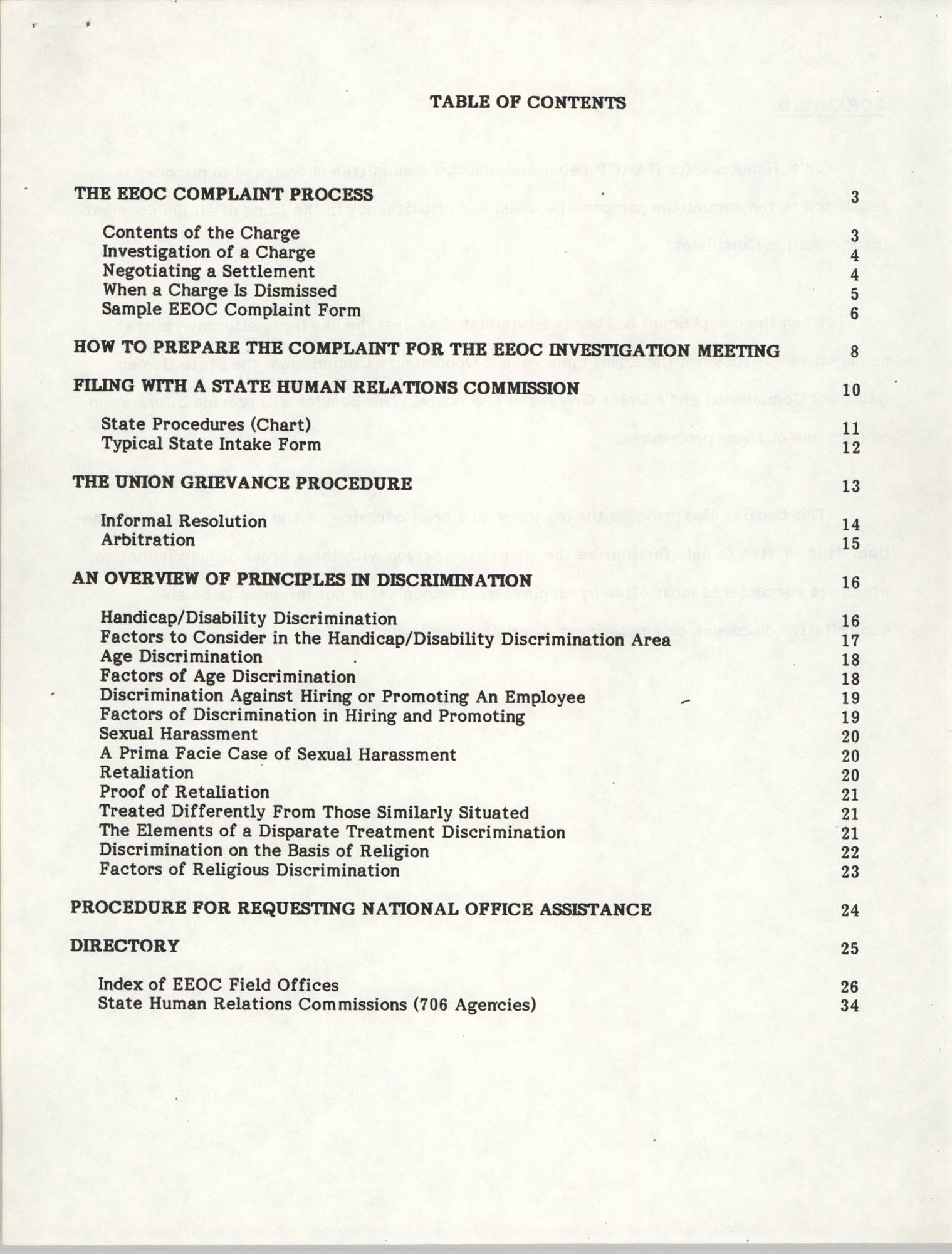 Handbook for Addressing Discrimination Complaints, NAACP Labor and Industry Committees, Table of Contents