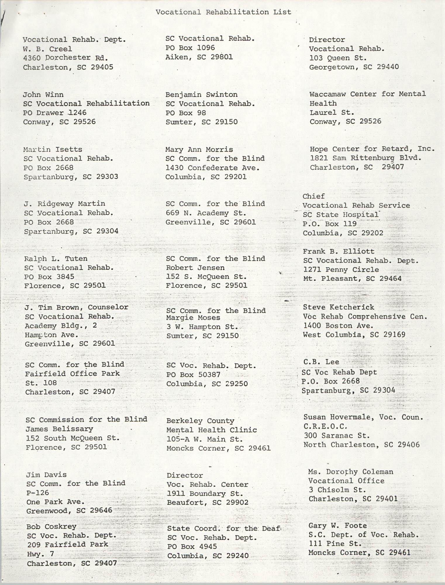 Vocational Rehabilitation List