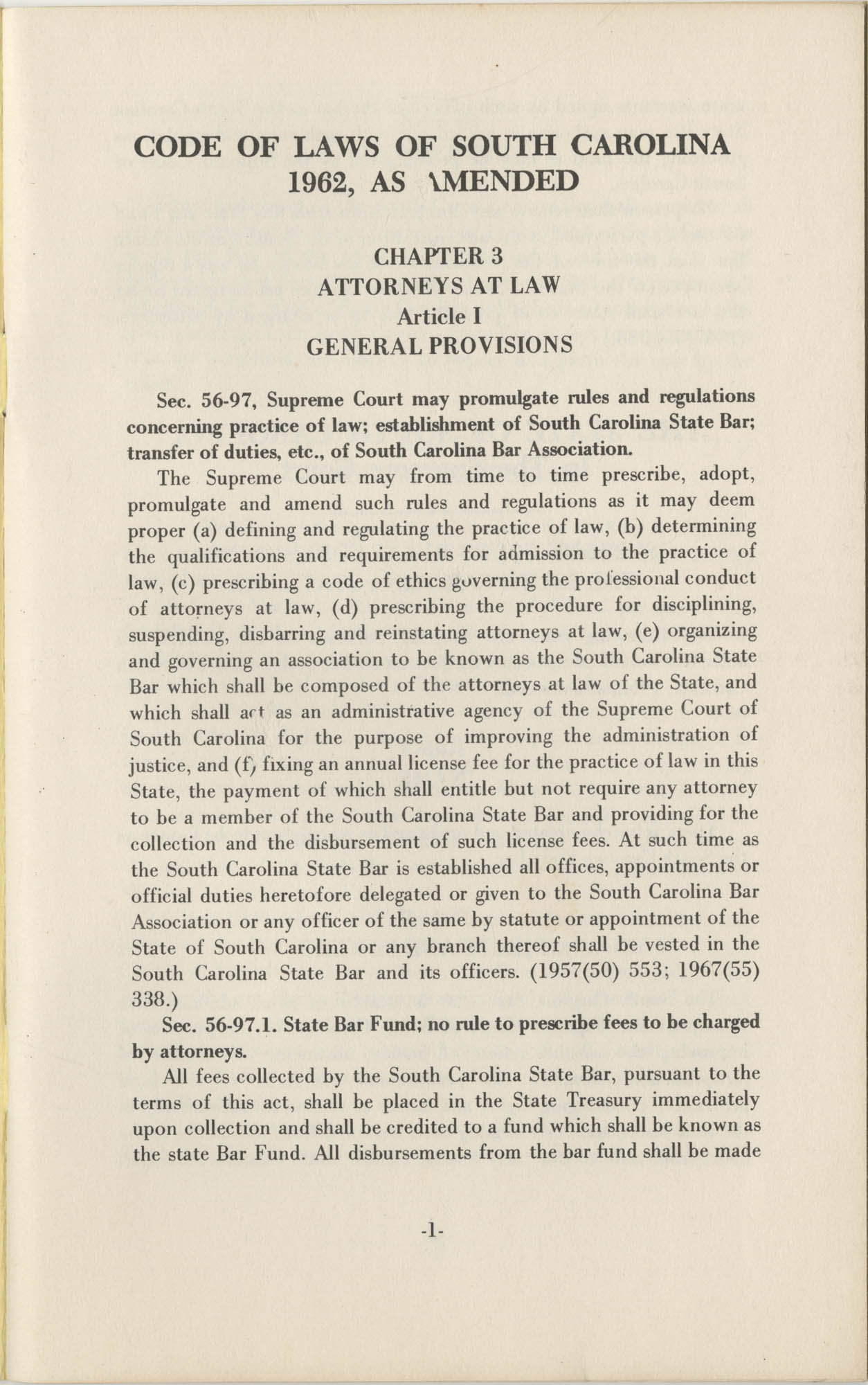 South Carolina State Bar, Statute Supreme Court Rules, By-Laws, 1974, Page 1