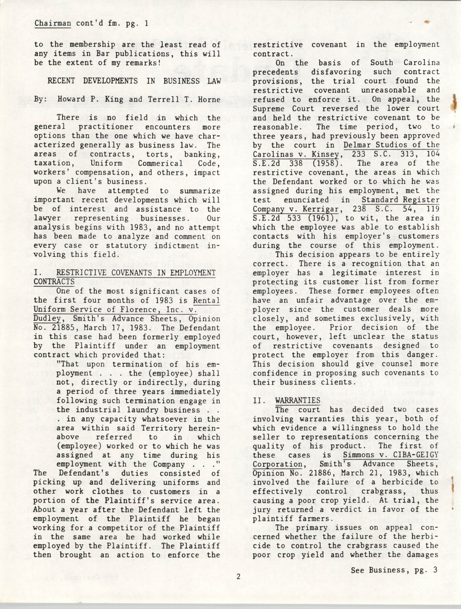 The General Practice Section Update, Vol. 1 No. 1, South Carolina Bar, November 1983, Page 2