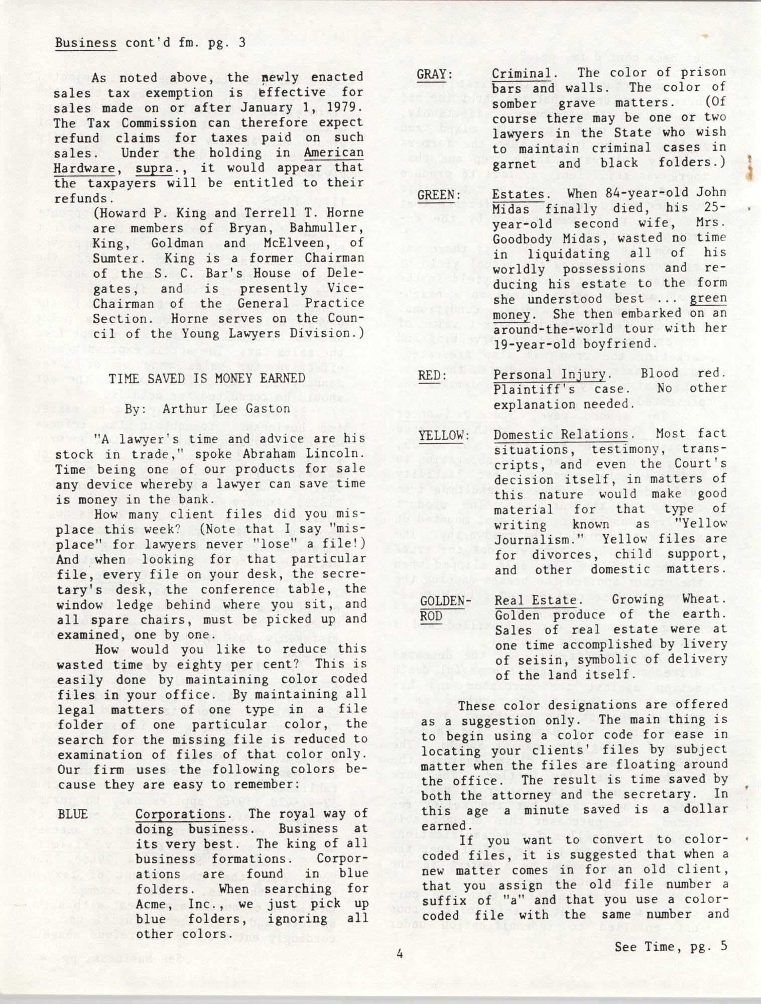 The General Practice Section Update, Vol. 1 No. 1, South Carolina Bar, November 1983, Page 4